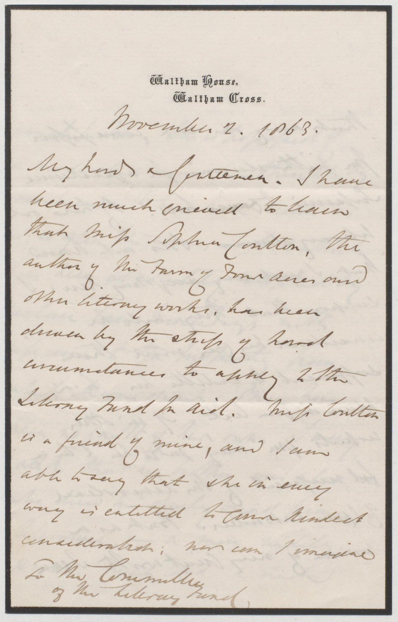 Letter from Anthony Trollope in support of Sophia Coulton