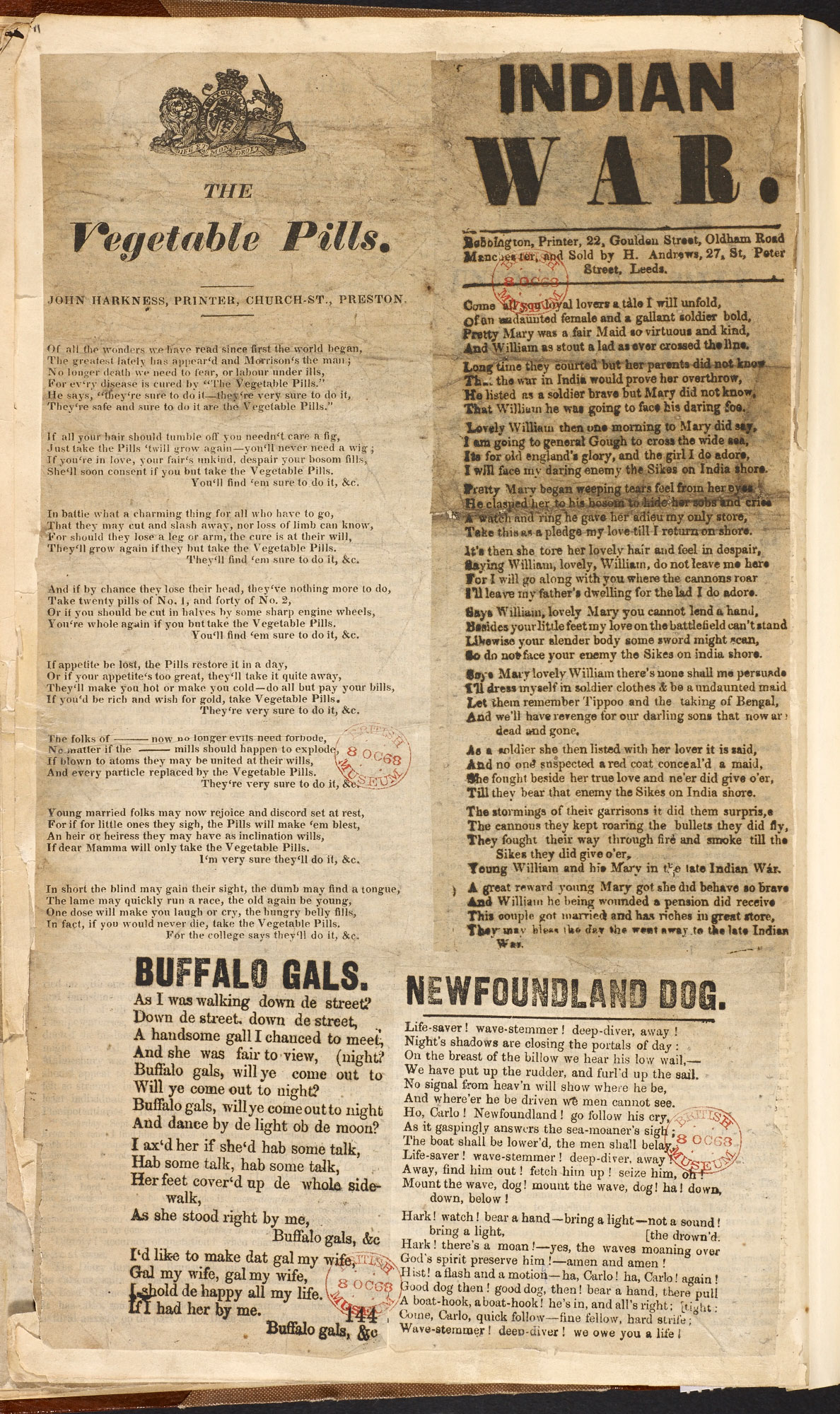 A broadside on 'the Indian War'