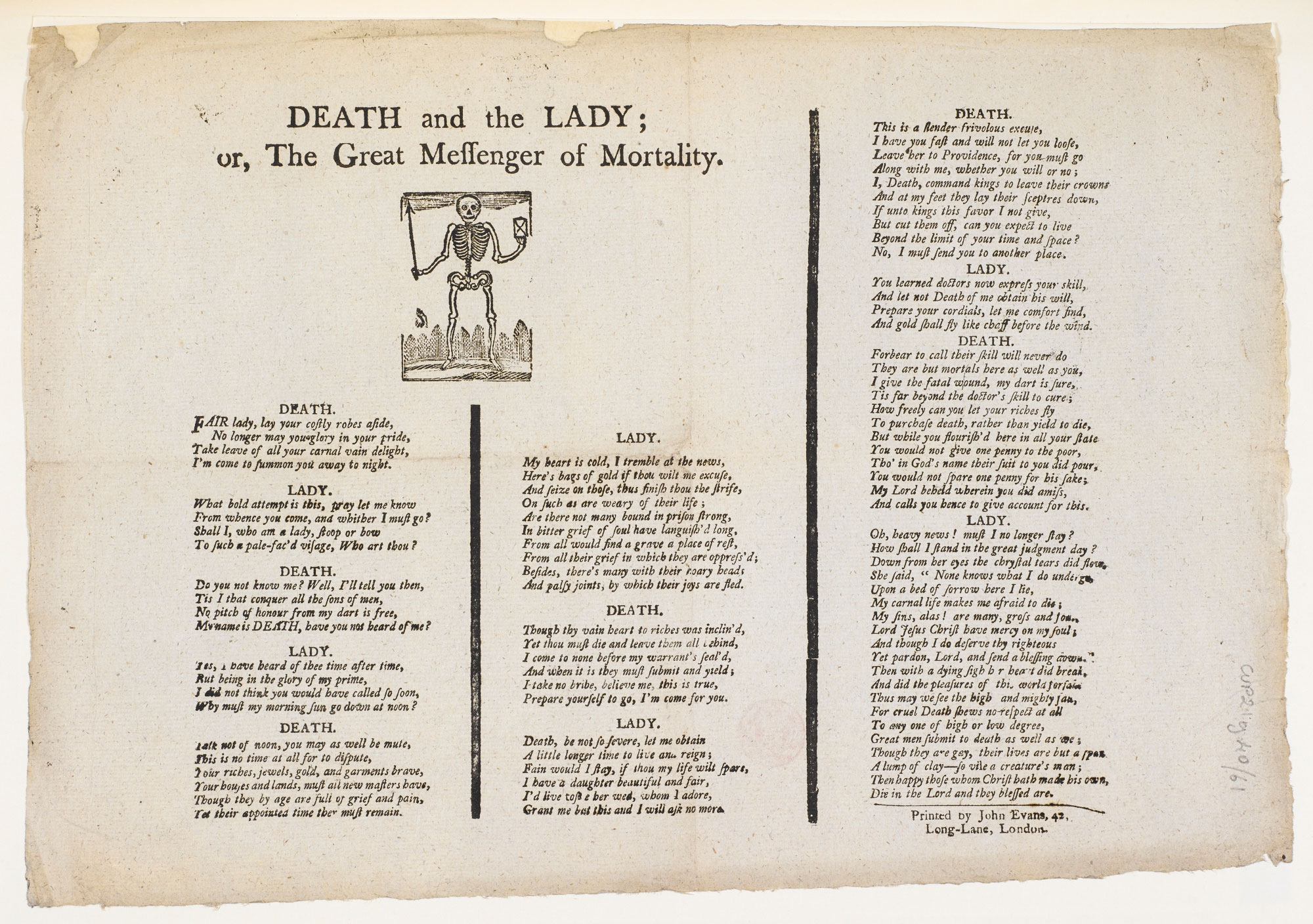 Death and the lady, a broadside