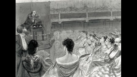 Drawing of Charles Dickens on stage, reading the Sikes and Nancy extract, in front of a seated crowd. His face and body appear animated and twisted