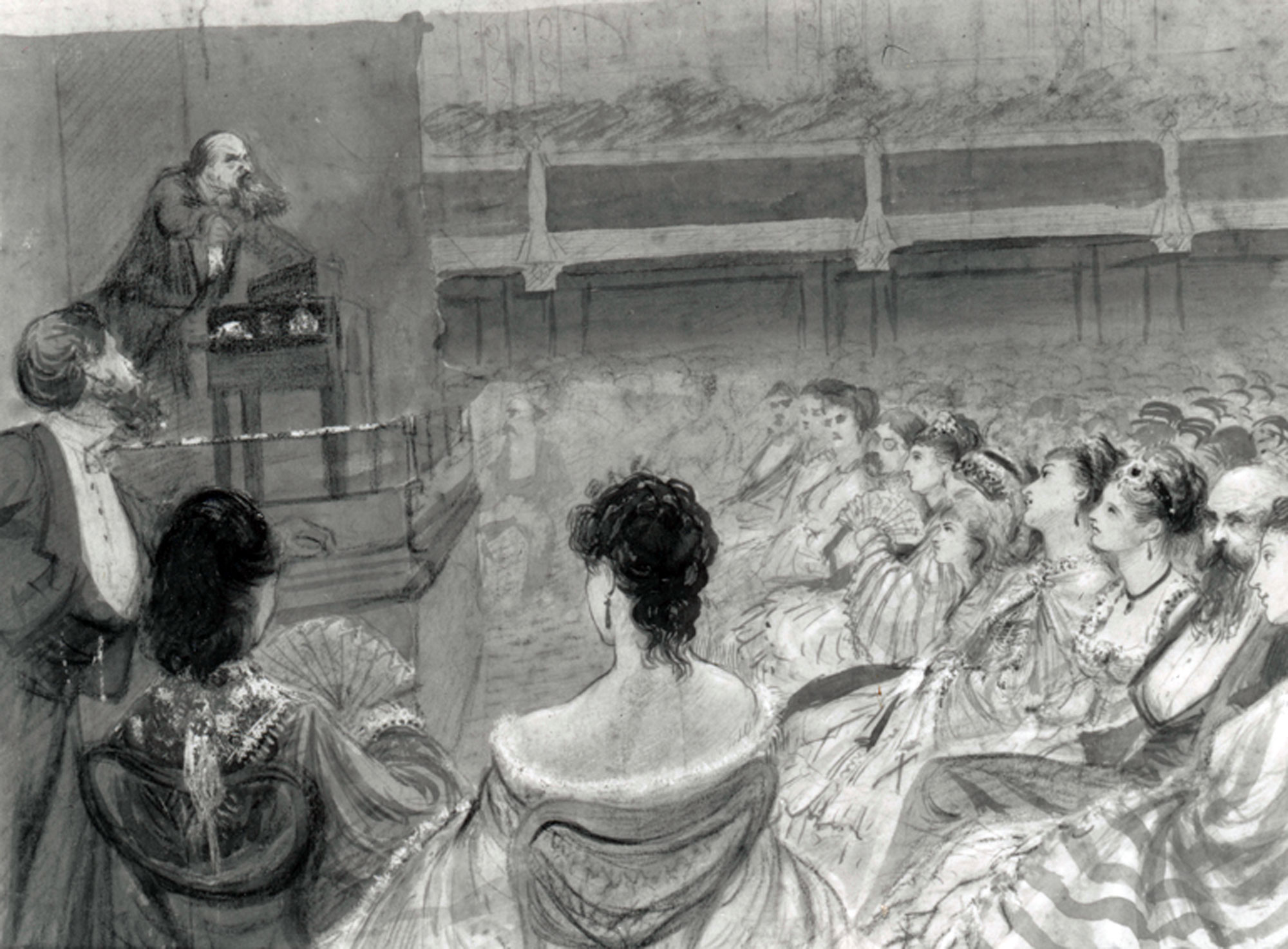 Drawing of Charles Dickens reading Sikes and Nancy on 16 March 1870