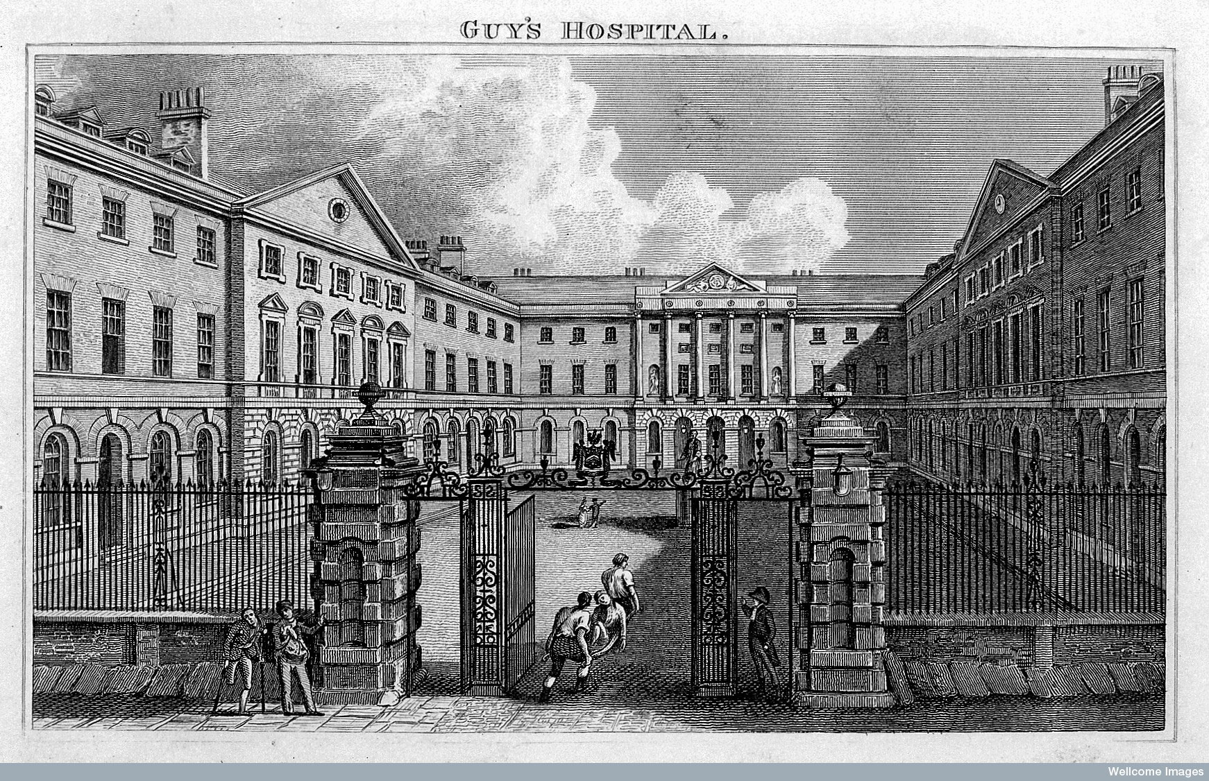 Engraving of Guy's Hospital, where John Keats trained as a doctor