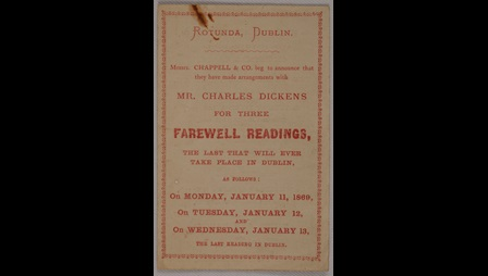 Printed ticket for Charles Dickens's 'farewell readings' at the Rotunda in Dublin, January 1869