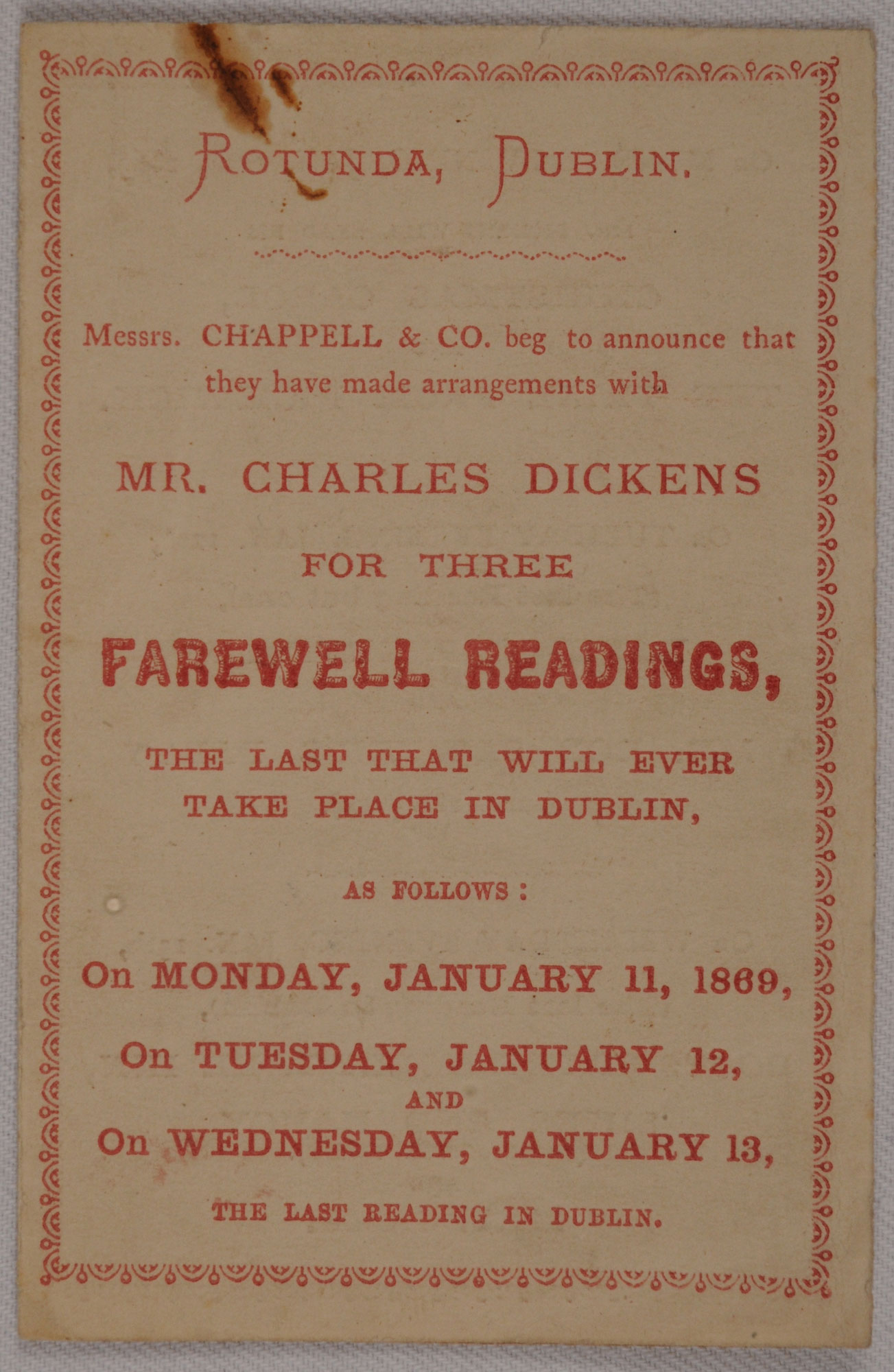 Ticket for Charles Dickens's last readings in Dublin