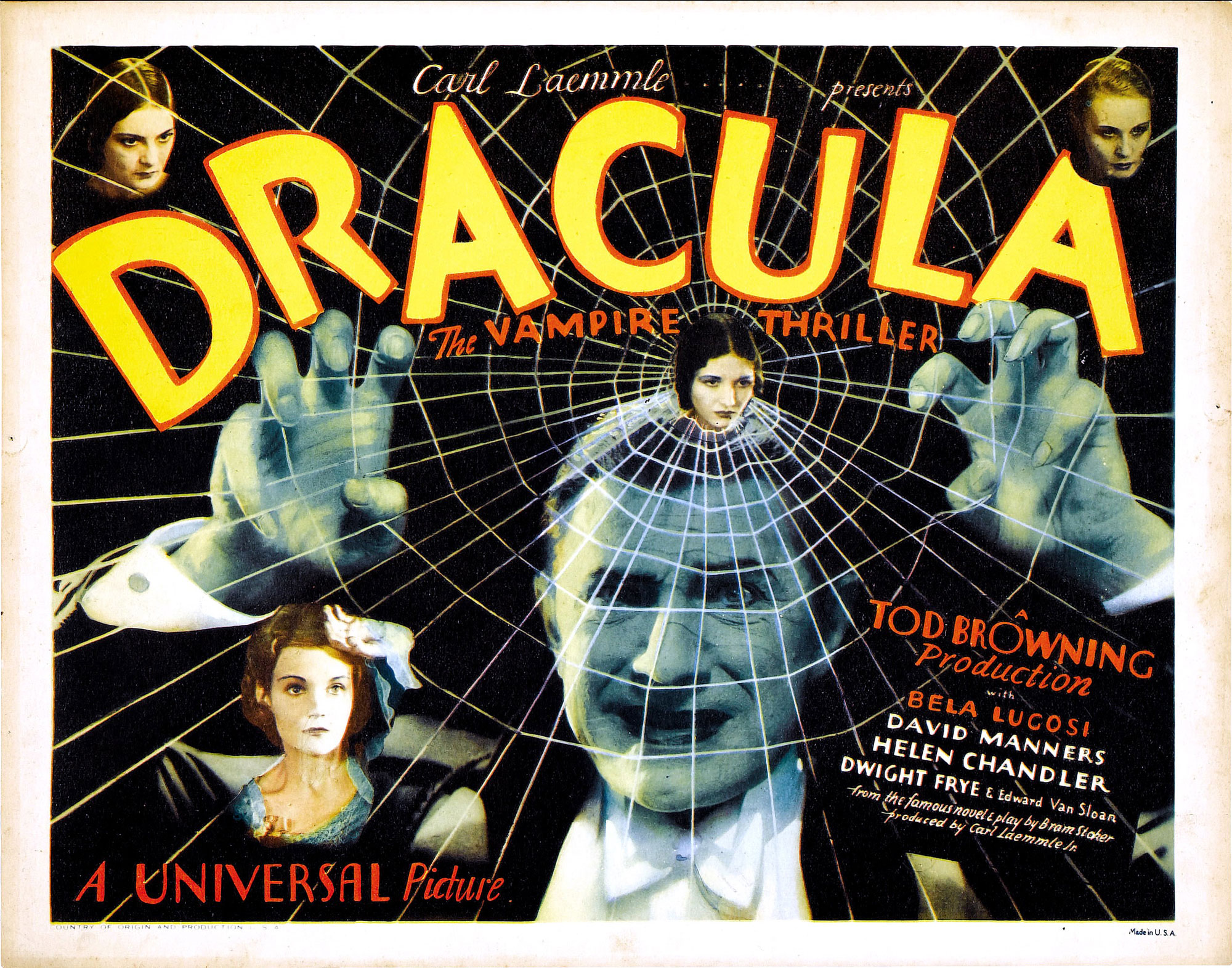 Poster promoting the film adaptation of Dracula starring Bela Lugosi