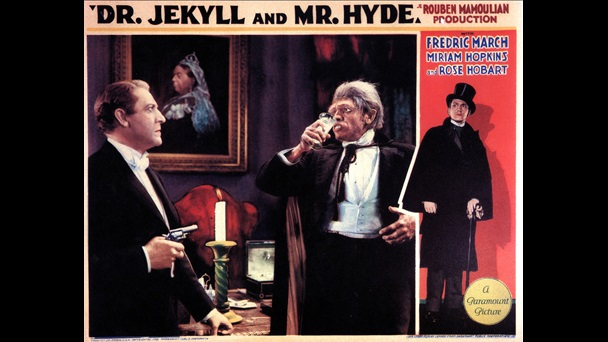Poster promoting the film adaptation of Dr Jekyll and Mr Hyde starring Fredric March