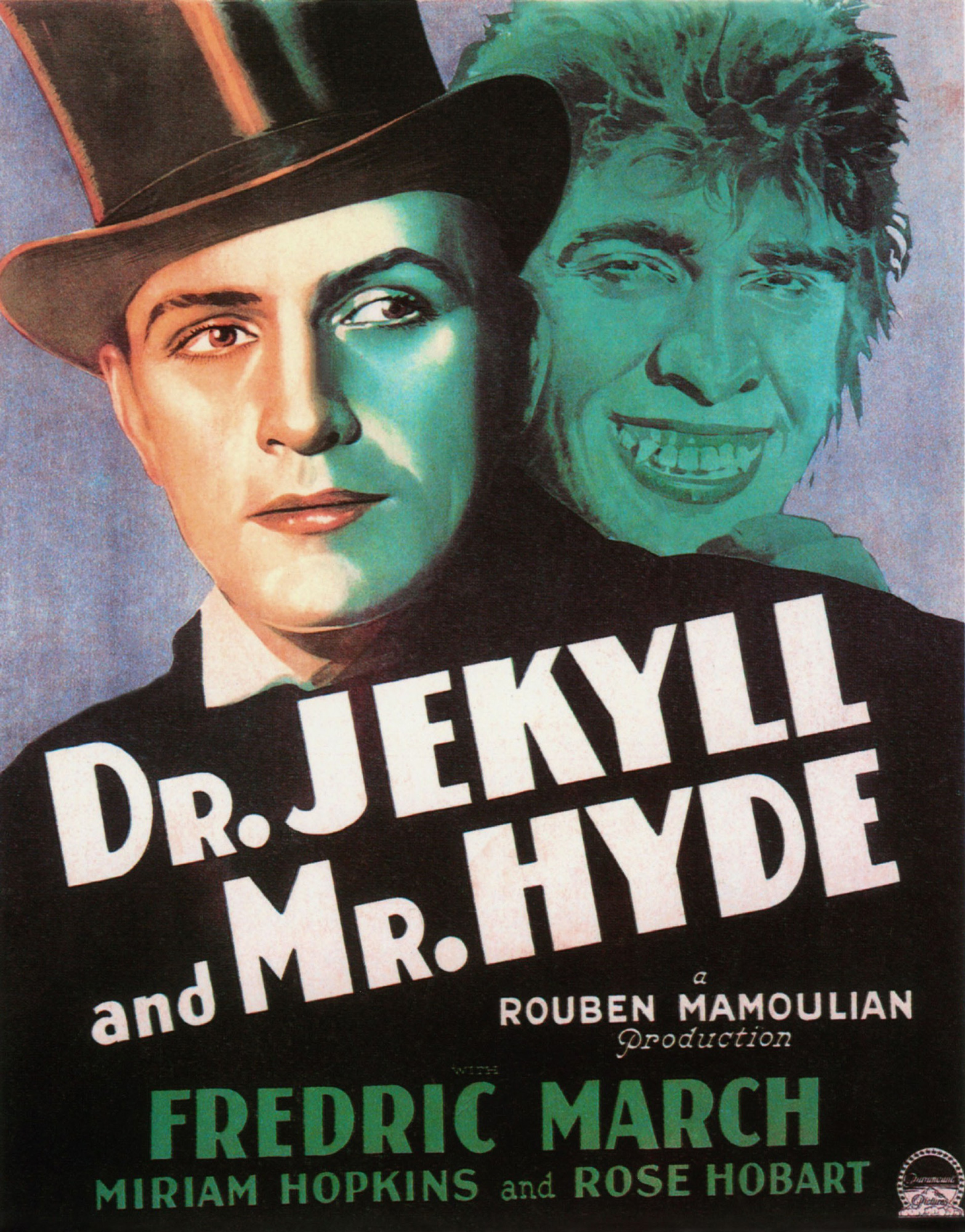 Poster depicting Jekyll and Hyde from the film adaptation starring Fredric March