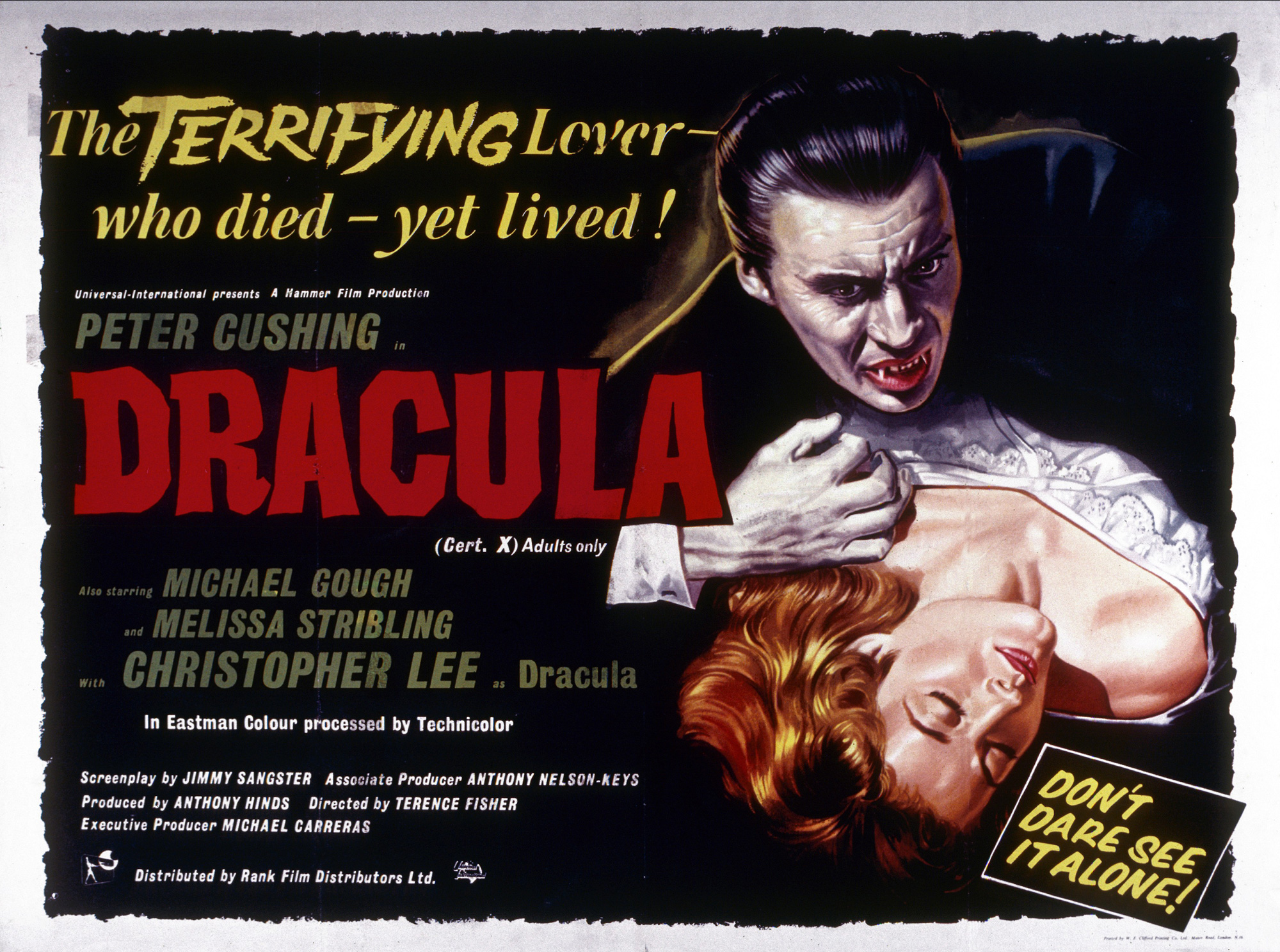 Poster promoting the 1958 film adaptation of Dracula