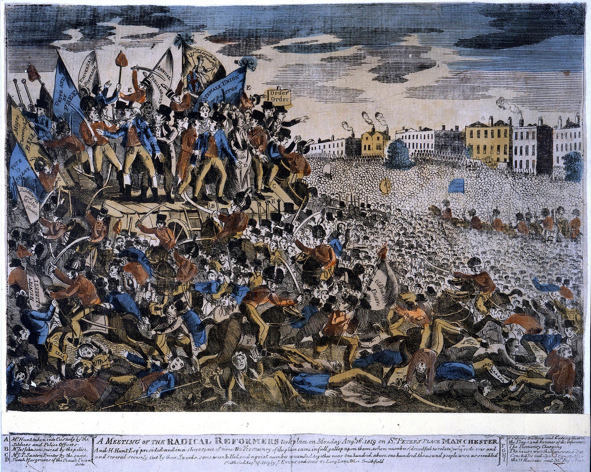 Colour print depicting the Peterloo Massacre