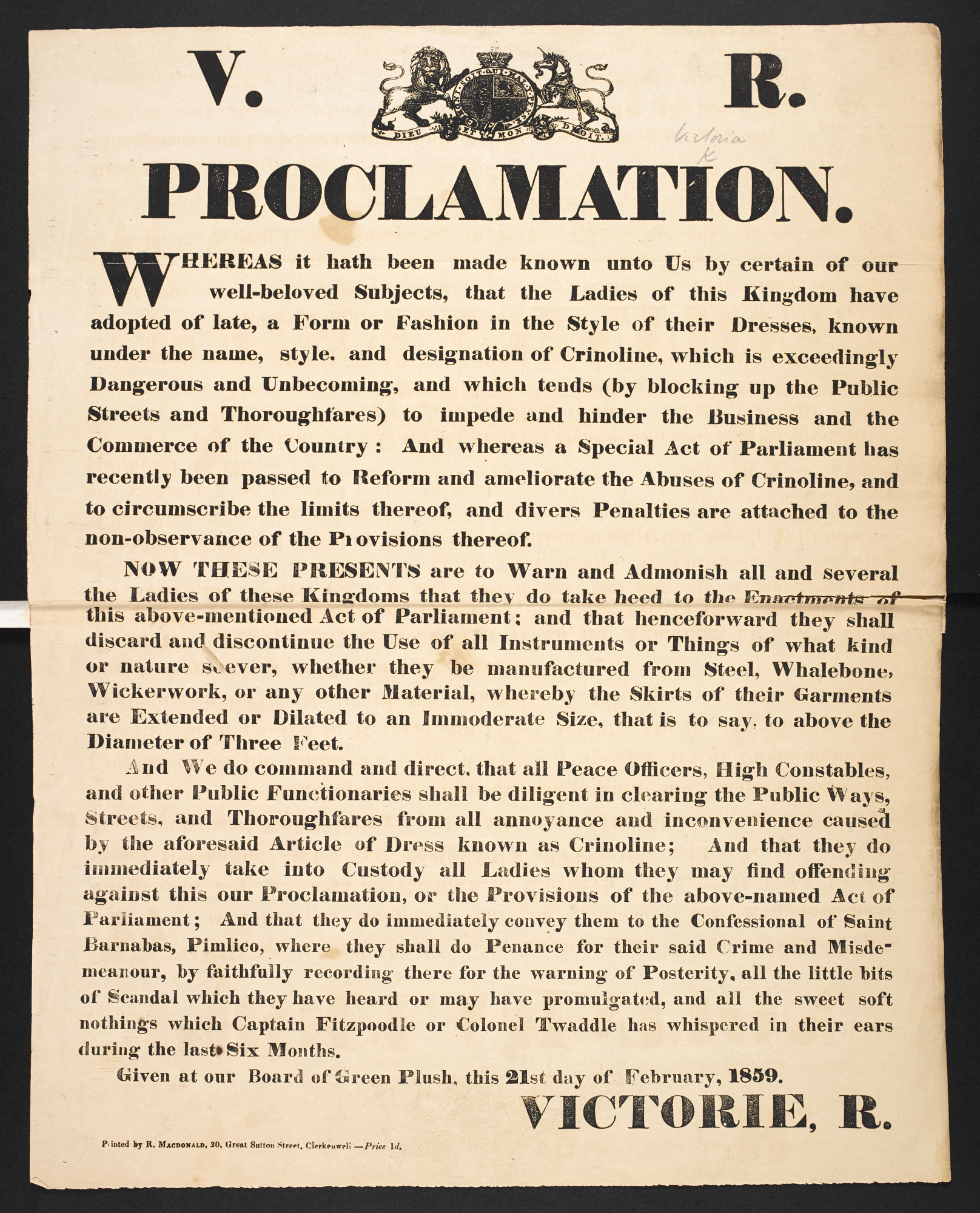 Proclamation against crinolines, a broadside