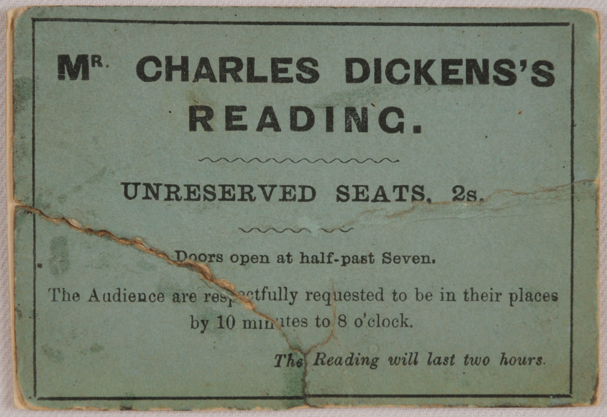 Charles Dickens reading tour ticket