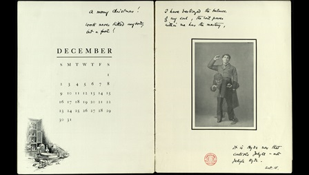 Double page containing a calendar for December and a photograph of Richard Mansfield in the role of Jekyll and Hyde, with some handwritten annotations