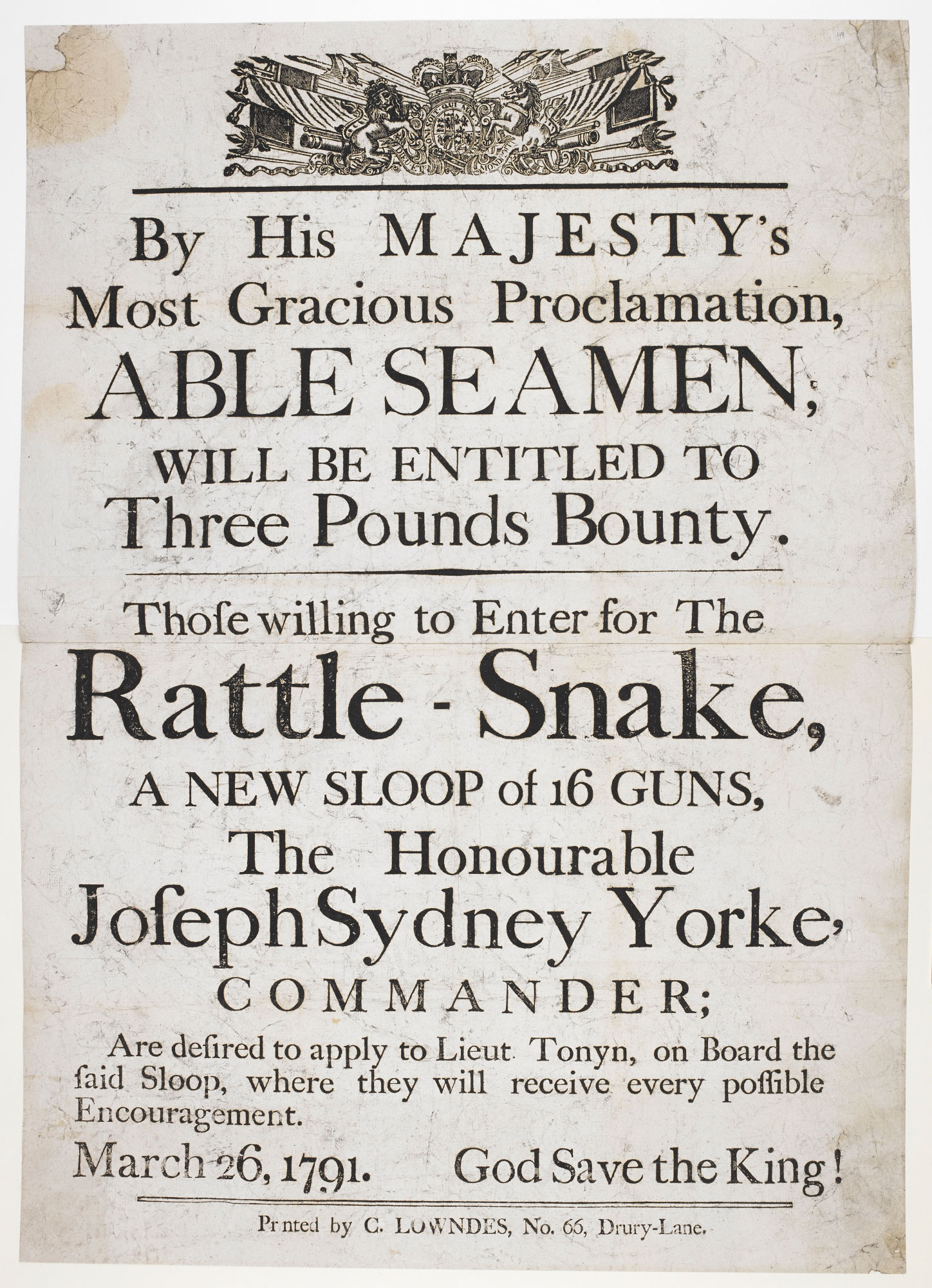 Advertisement for sailors to enlist in the Rattle-Snake
