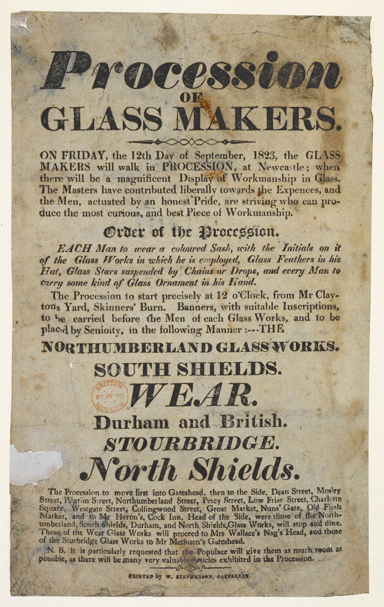 Procession of glass makers in Newcastle