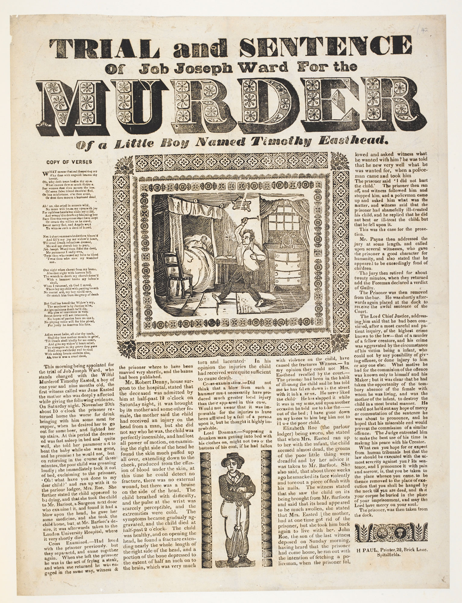 The trial and sentence of Job Joseph Ward, a broadside