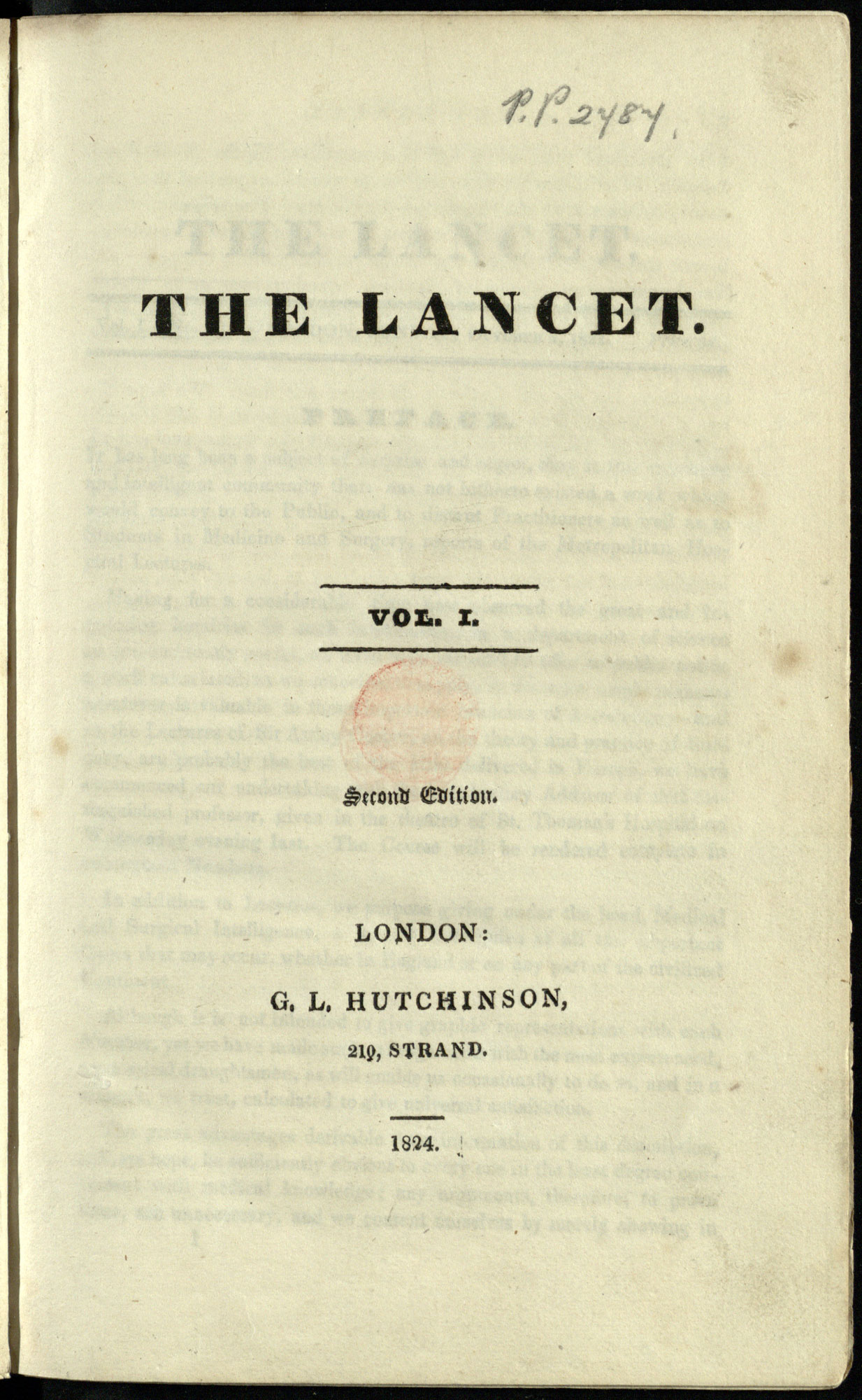First issue of medical journal the Lancet