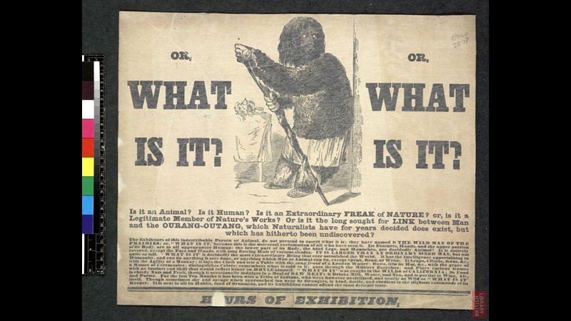 What is it: Poster advertising 'The Wild Man of the Prairies' at the Royal Zoological Gardens, Surrey