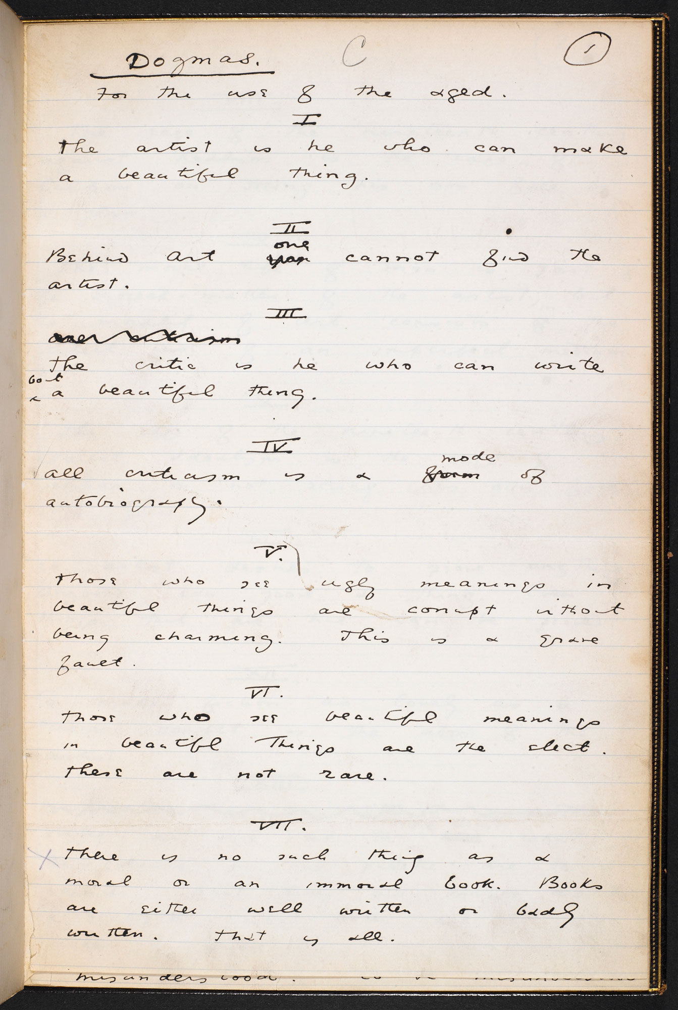 'Dogmas for the Use of the Ages' by Oscar Wilde