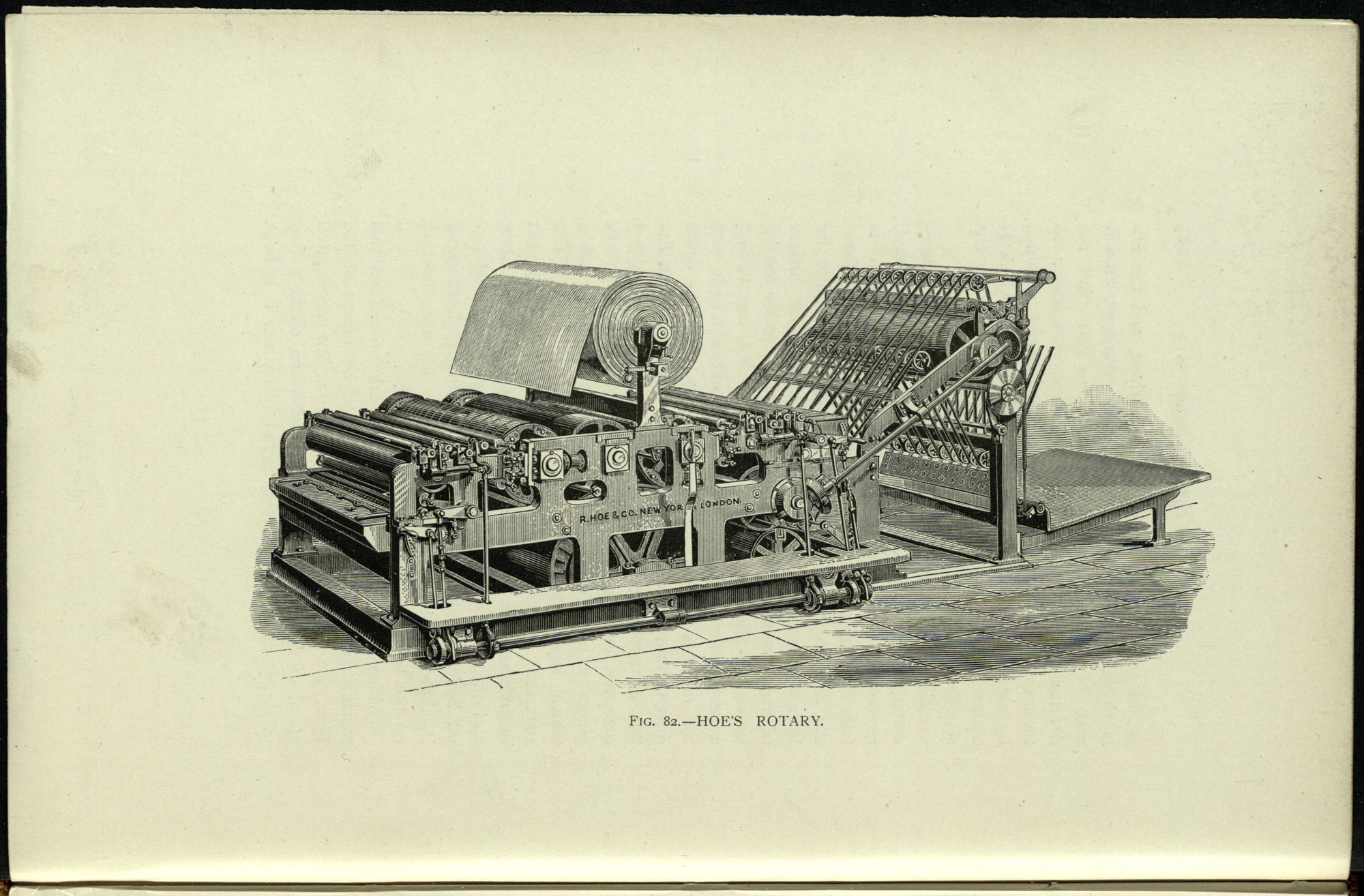 Image of Hoe Rotary Machine from a treatise on printing