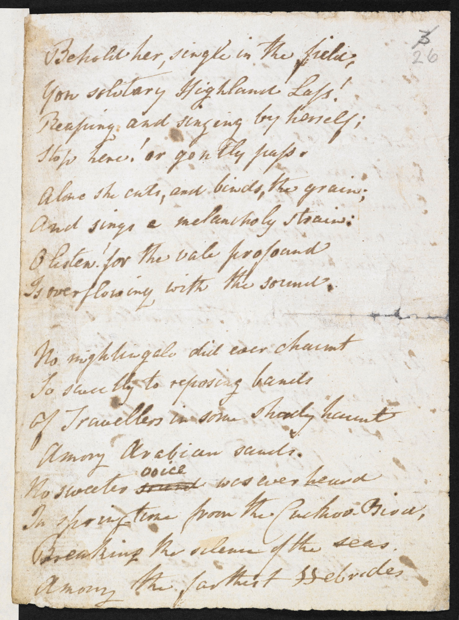 Manuscript of 'The Solitary Reaper' by William Wordsworth - The