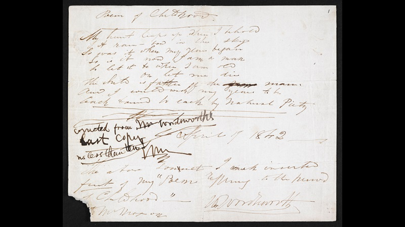 Manuscript of 'My heart leaps up when I behold' by Wordsworth
