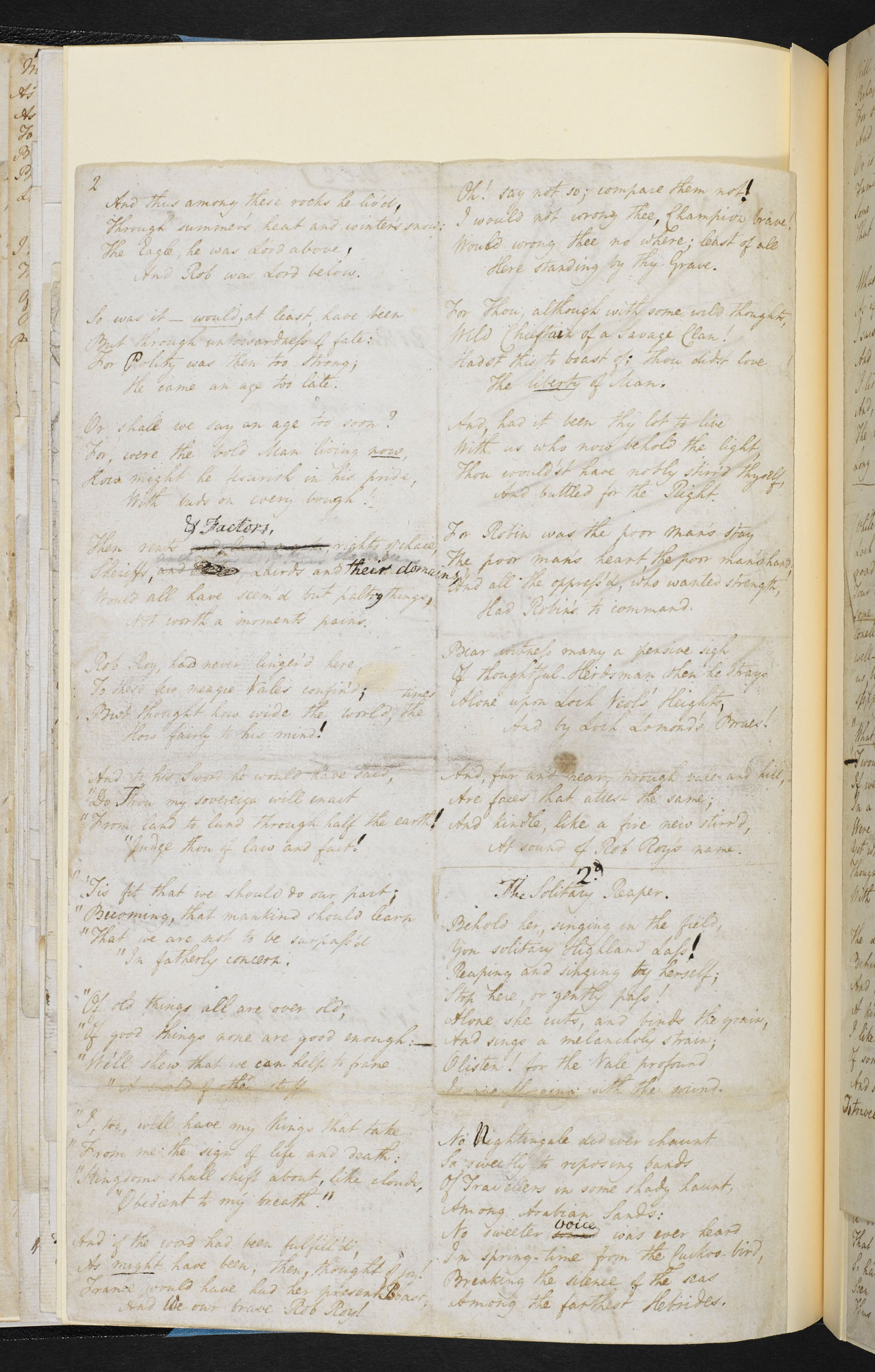 Manuscript of the printer's copy of 'The Solitary Reaper' by William Wordsworth