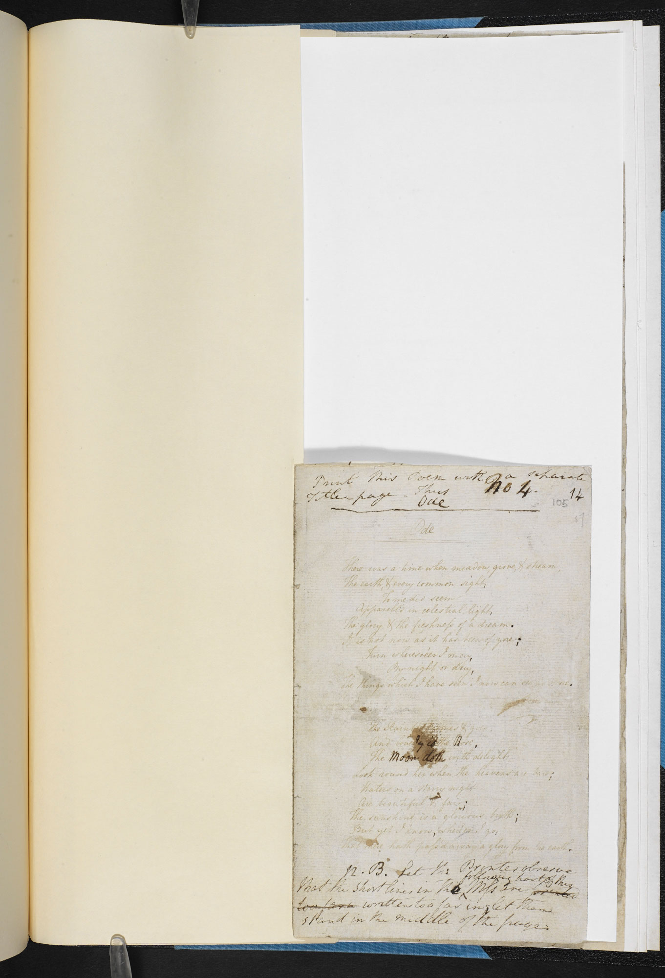 Manuscript of 'Intimations of Immortality' by William Wordsworth