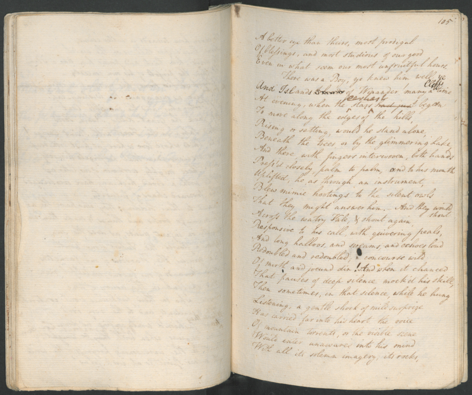 Manuscript of The Prelude by William Wordsworth