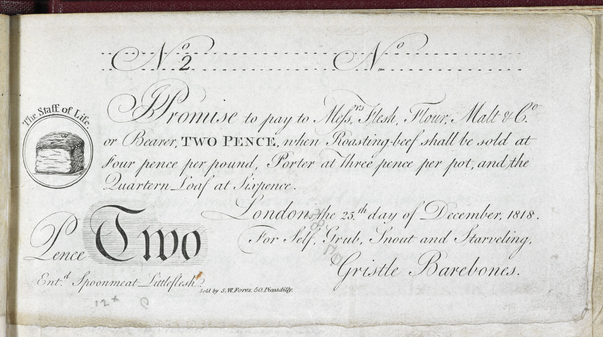 Satirical imitation bank notes [page: single sheet ['I Promise to pay to Messrs. Flesh, Flour, Malt & Co…']]
