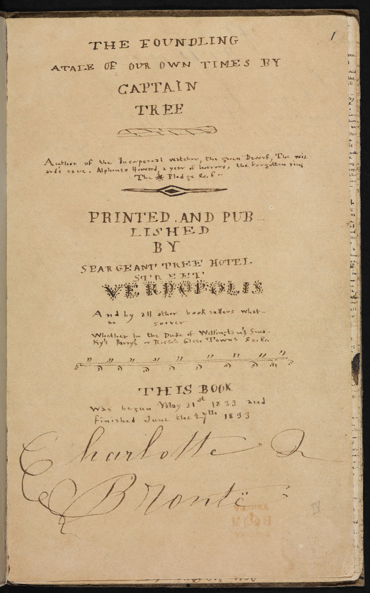 Brontë juvenilia: 'The foundling' [folio: 1r]