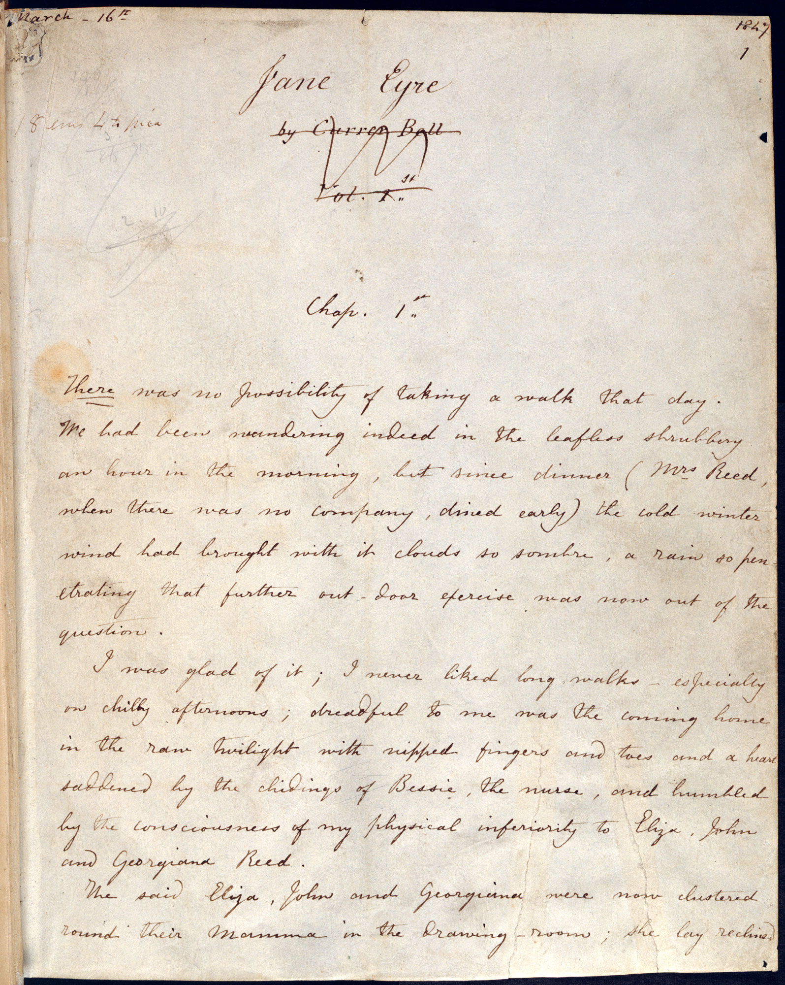 Fair copy manuscript of Charlotte Brontë's Jane Eyre [folio: 1r]