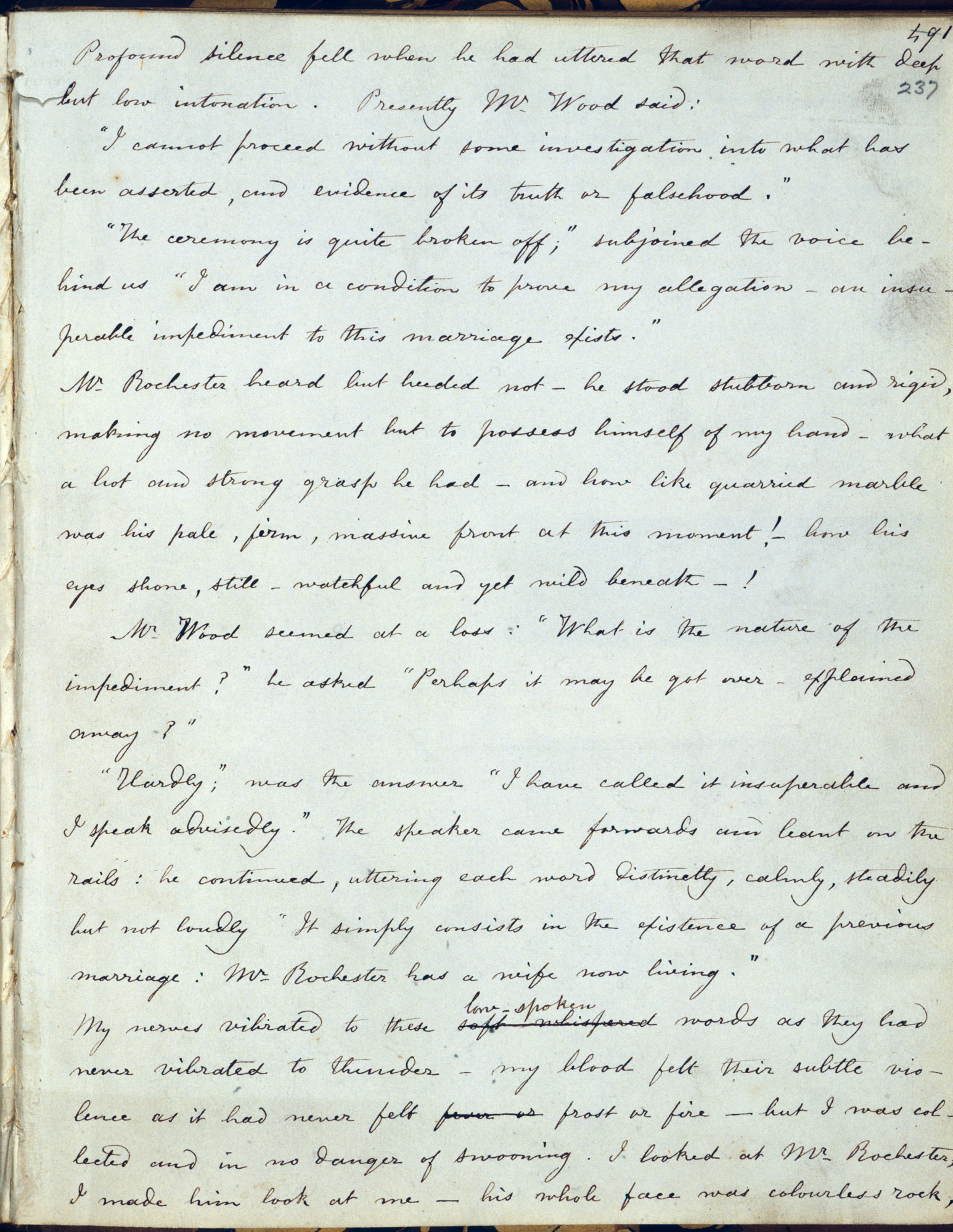 Fair copy manuscript of Charlotte Brontë's Jane Eyre [folio: 237r]