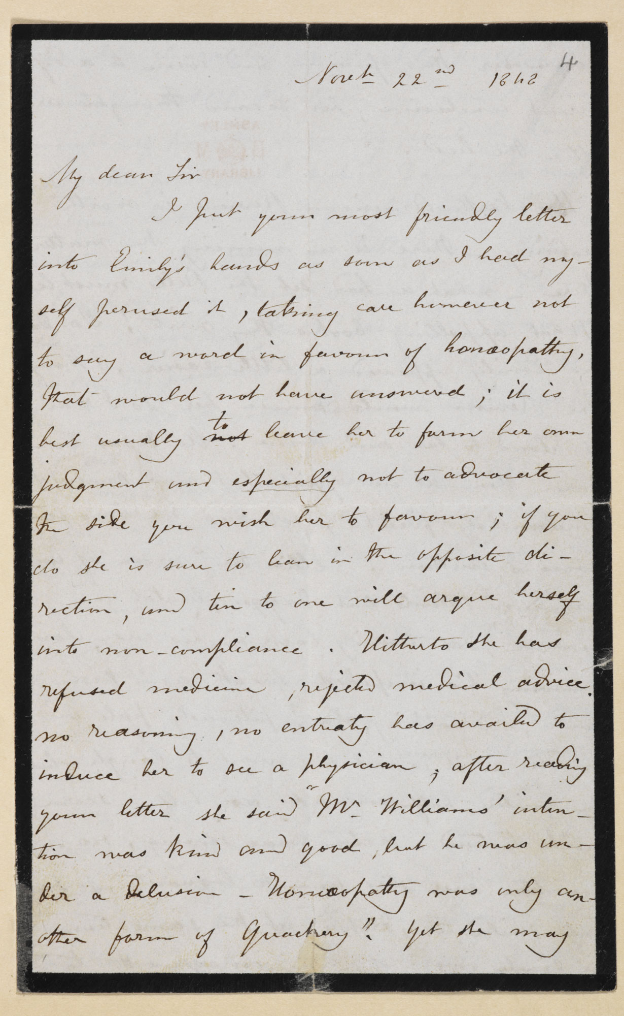 Five letters from Charlotte Brontë to Ellen Nussey and W S Williams, 1848-1854, mainly concerned with the death of her siblings [folio: 4r]