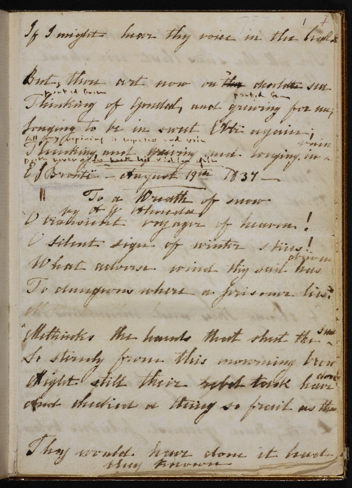 Emily Brontë's poetry notebook [folio: 1r]