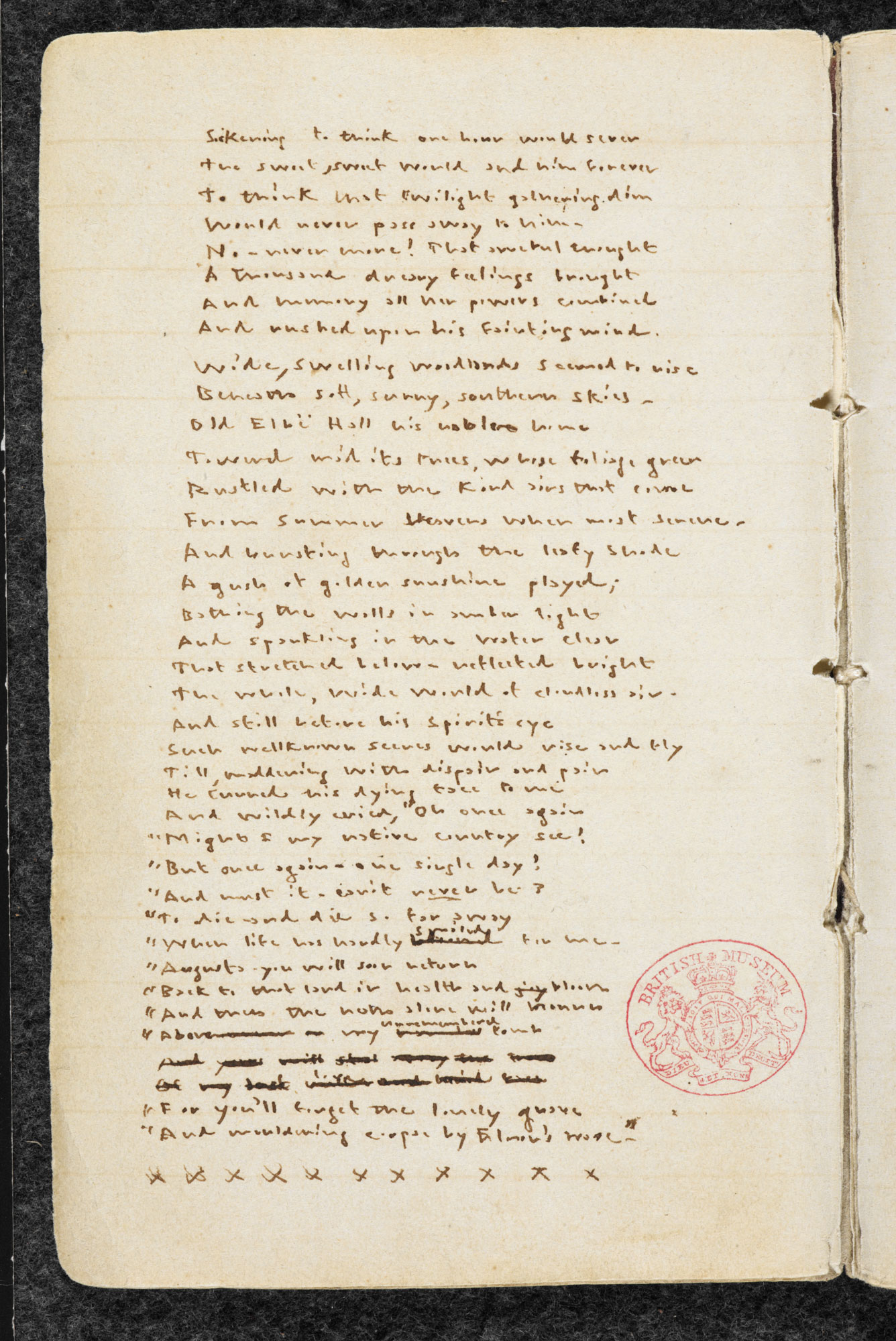 Manuscript copy of Emily Brontë's Gondal poetry [folio: 1v]