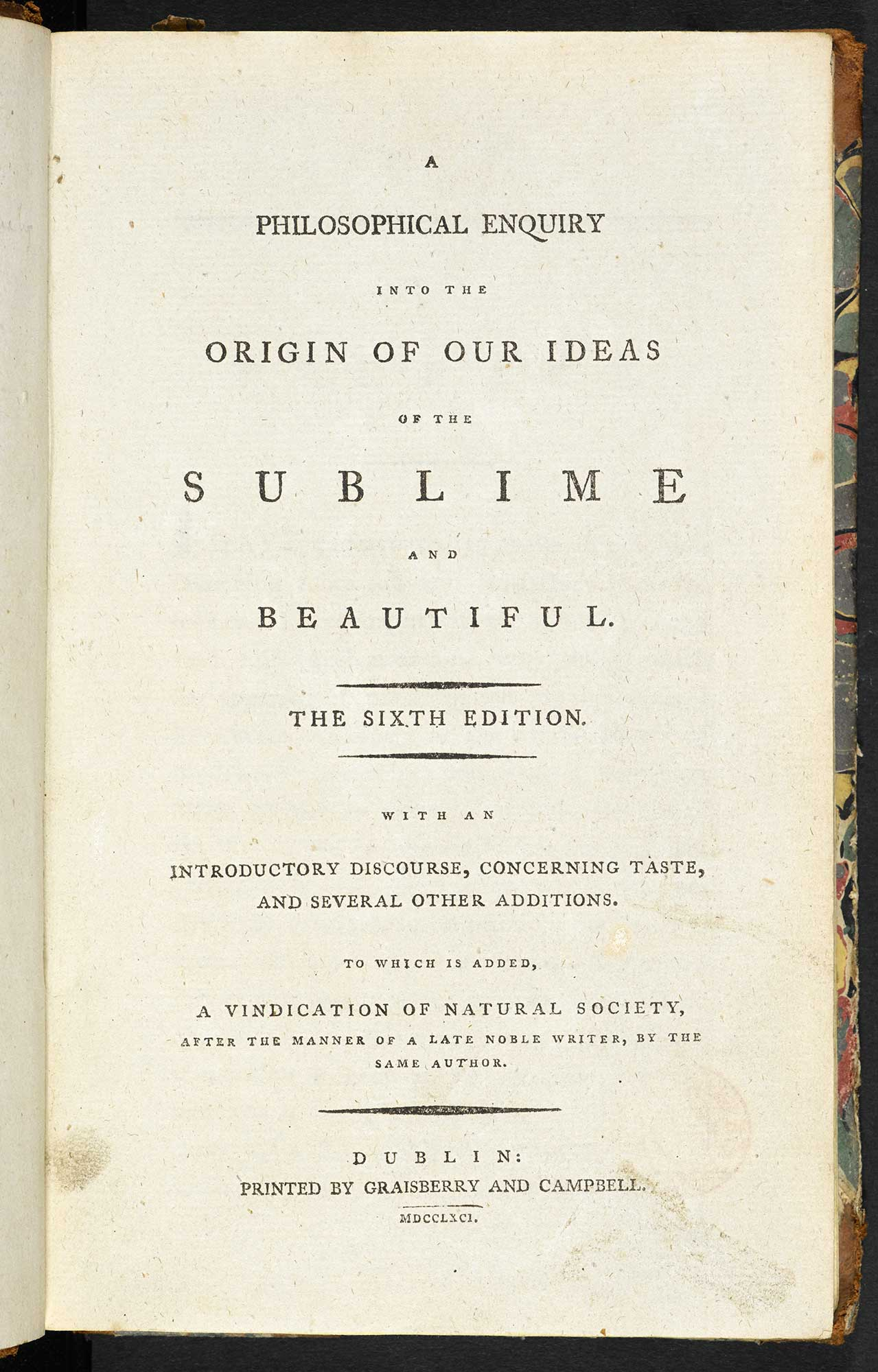 Burke's A Philosophical Enquiry into the Origin of our Ideas of the Sublime and Beautiful [page: title page]