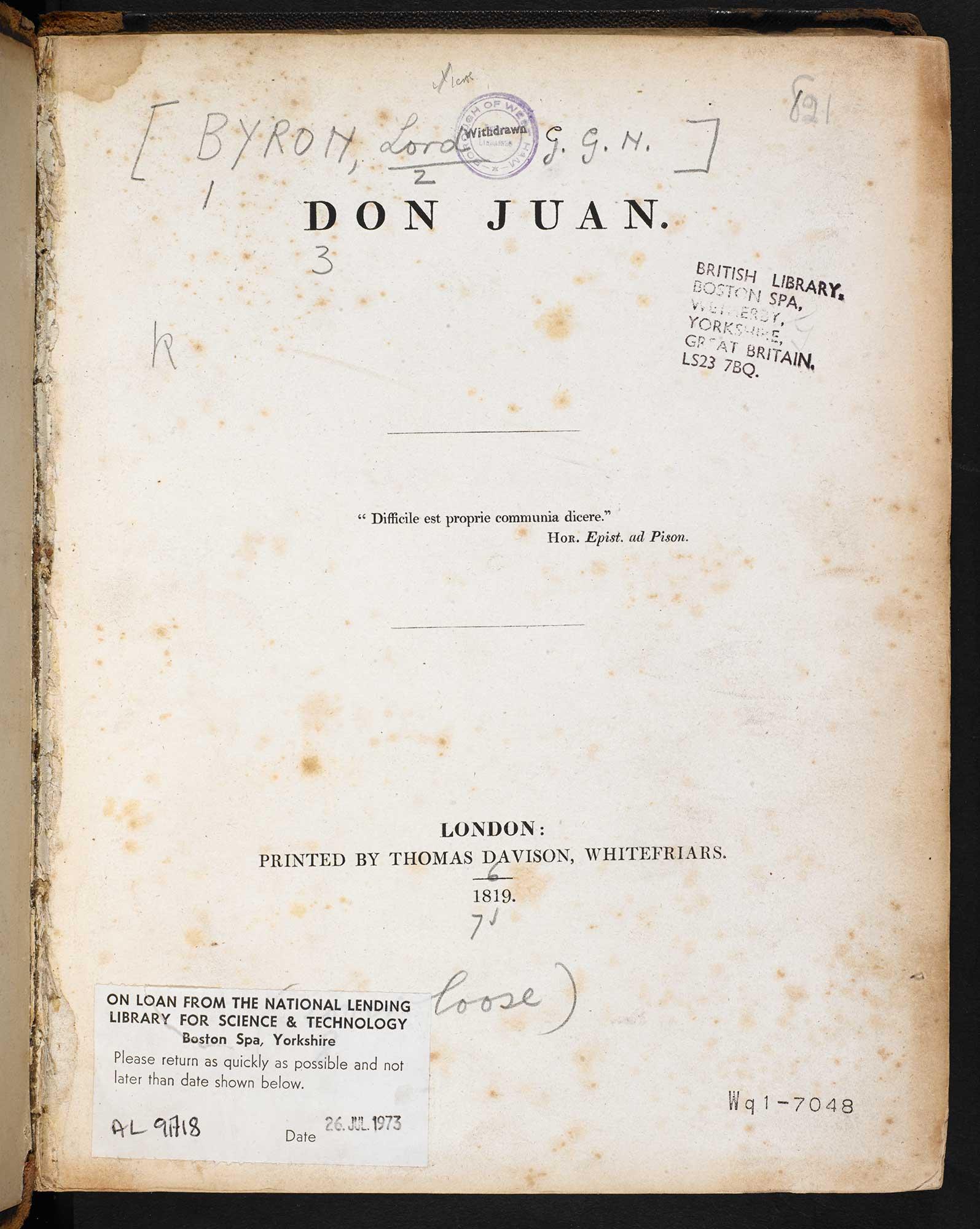 Don Juan, cantos 1-2