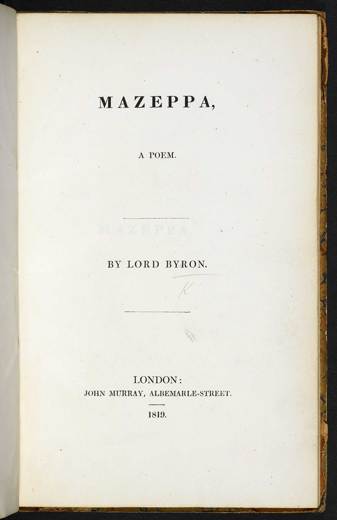 Fragment of a Novel', from Mazeppa by Lord George Byron [page: title page]