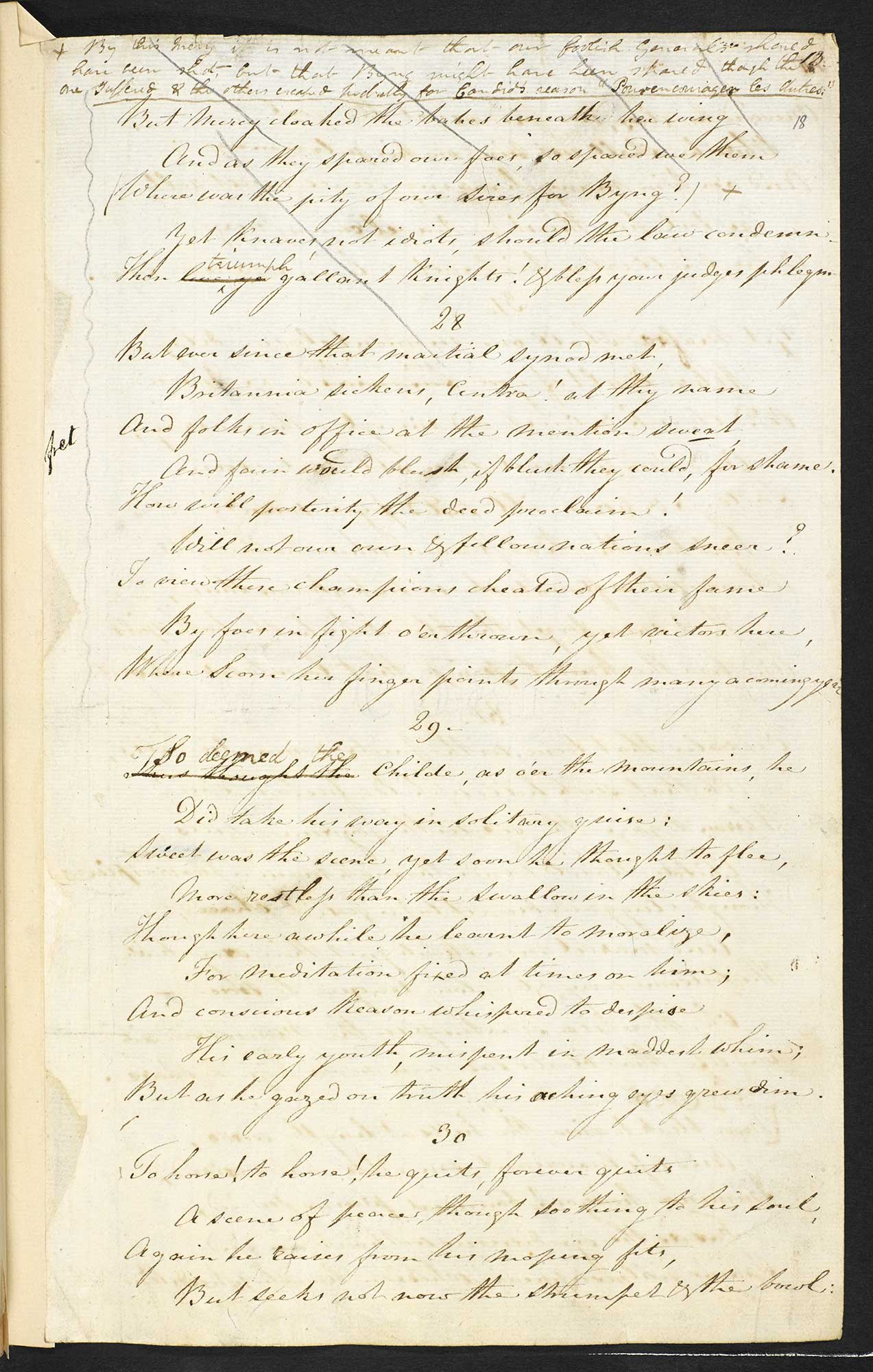 Manuscript of Childe Harold's Pilgrimage by Byron, Cantos I and II