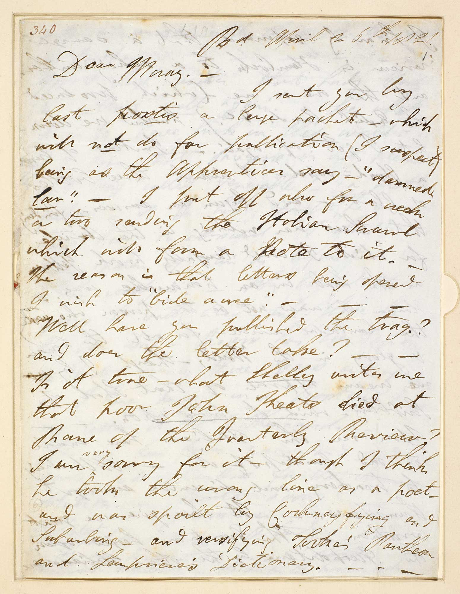 Letter from Lord Byron to John Murray about the death of Keats, 1821