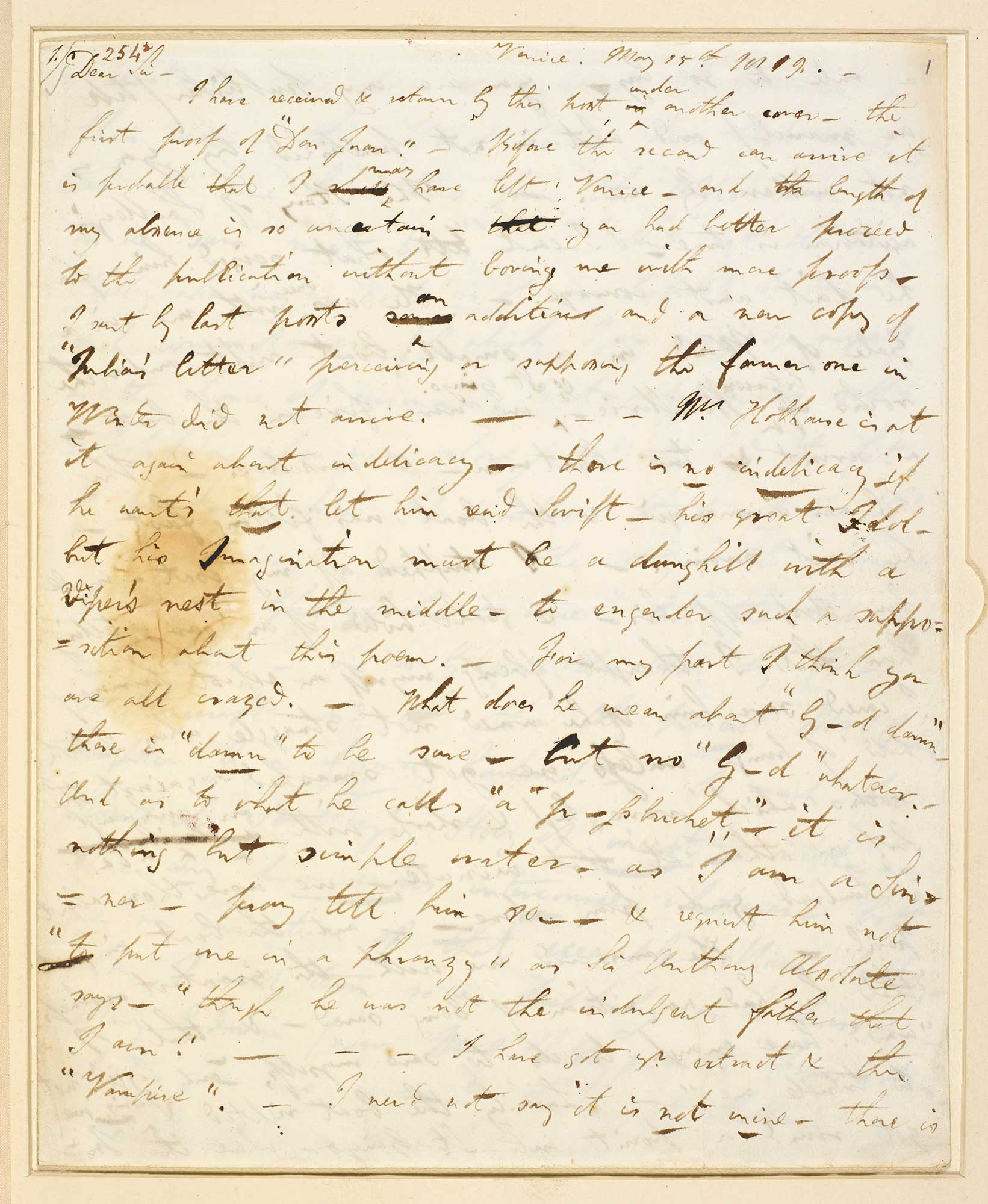 Letter from Lord Byron to John Murray about incidents at Villa Diodati, 1819