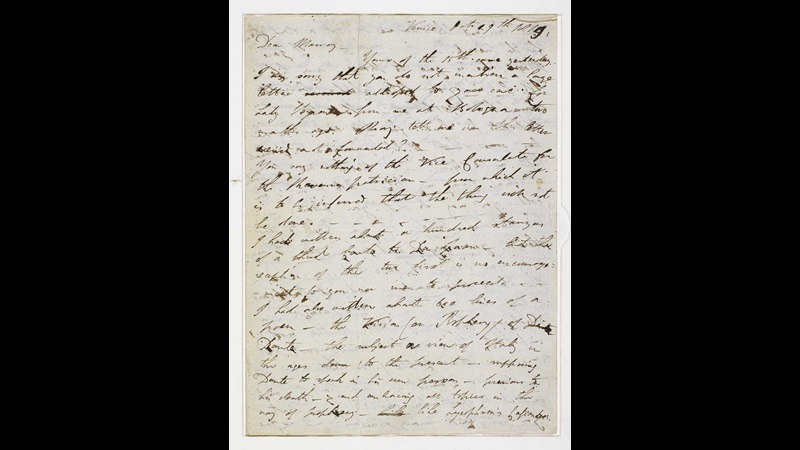 Letter from Lord Byron about his memoirs, 1819