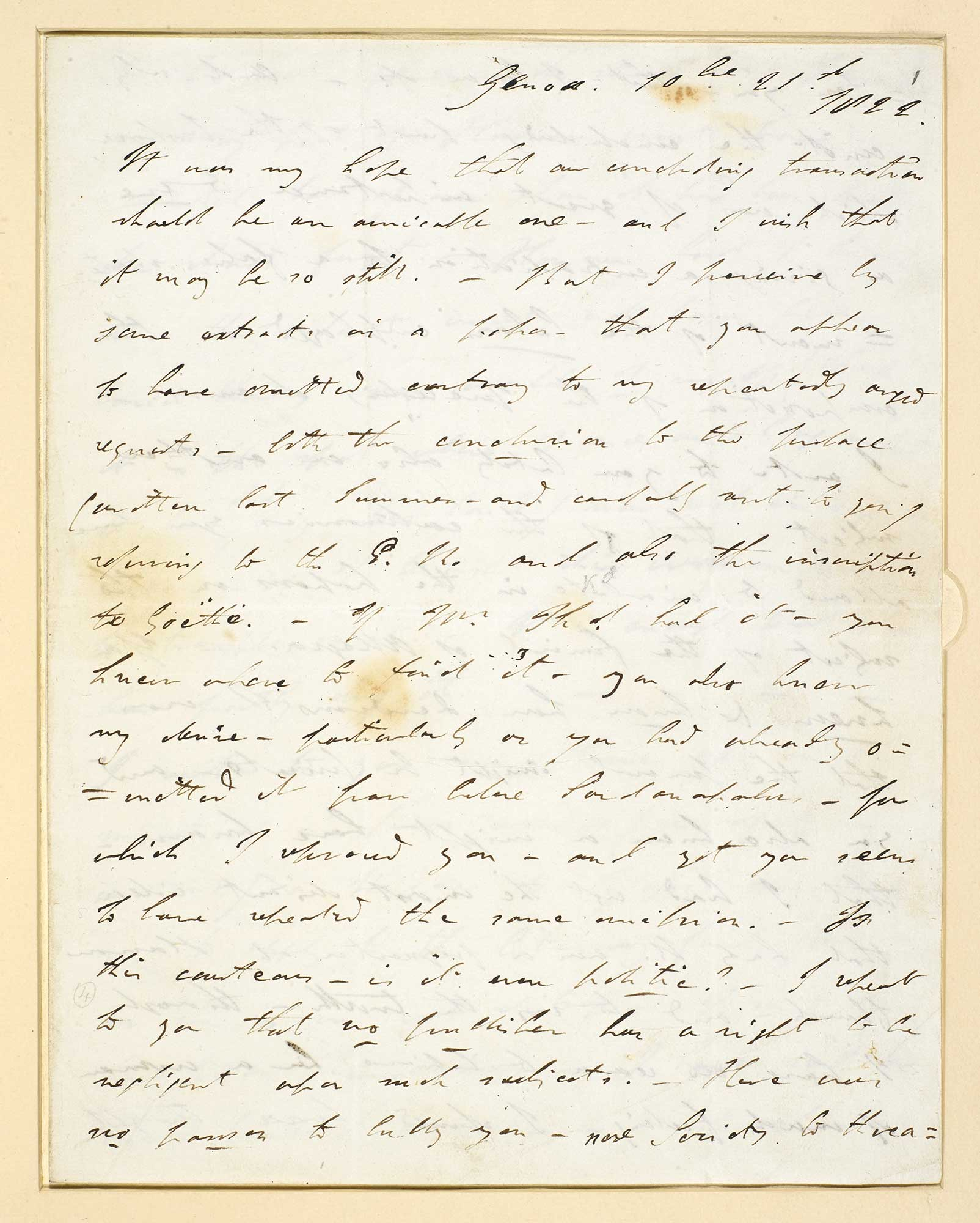 Letter of complaint from Lord Byron to John Murray, 1822