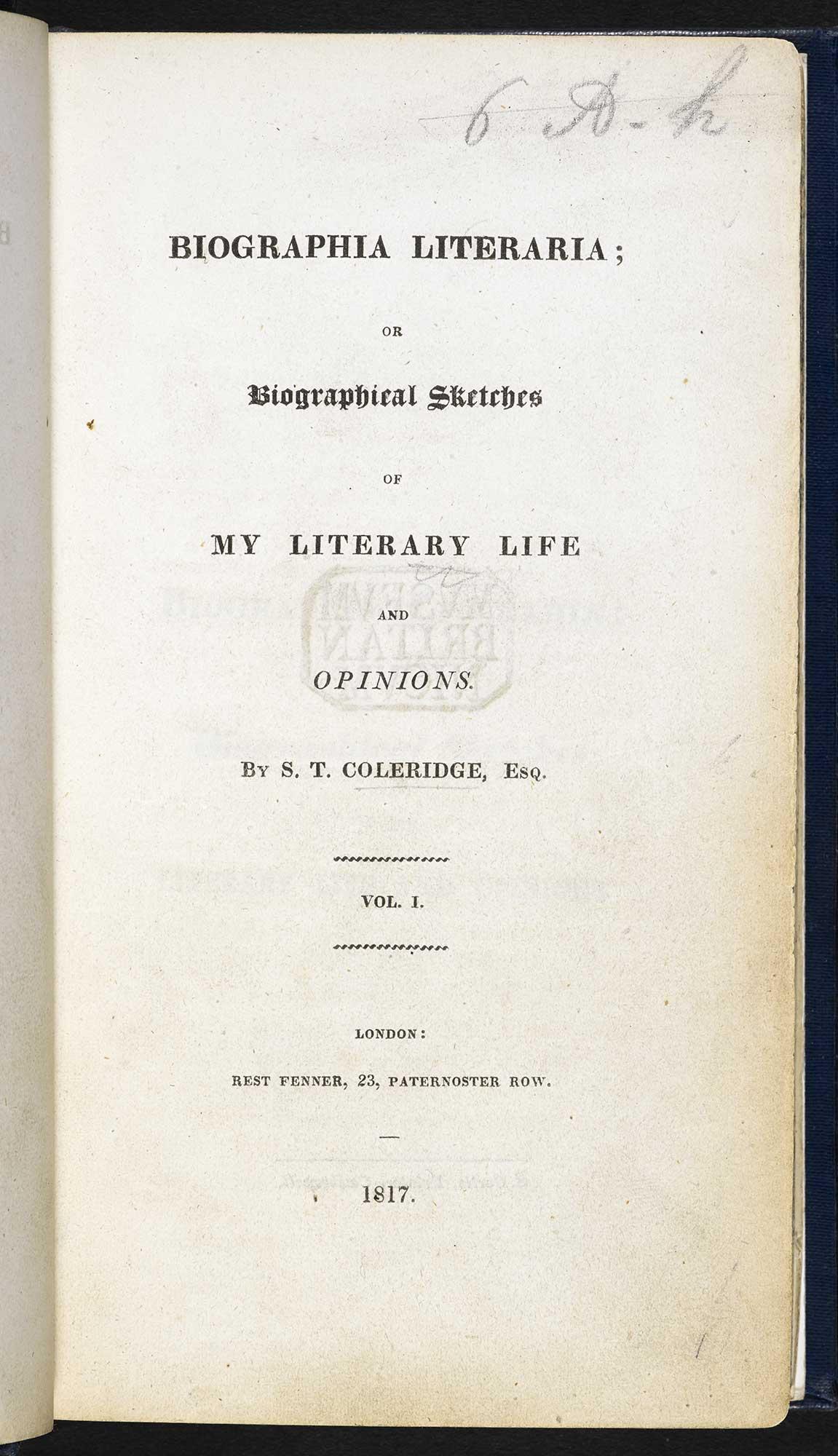 Biographia Literaria By Samuel Taylor Coleridge The British Library