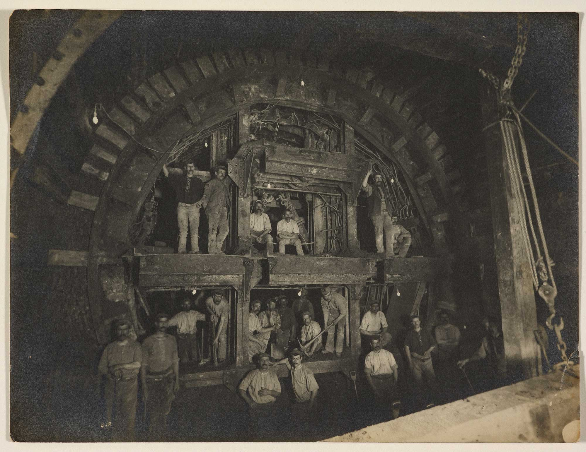 Photograph showing the construction of the London Underground's Central Line