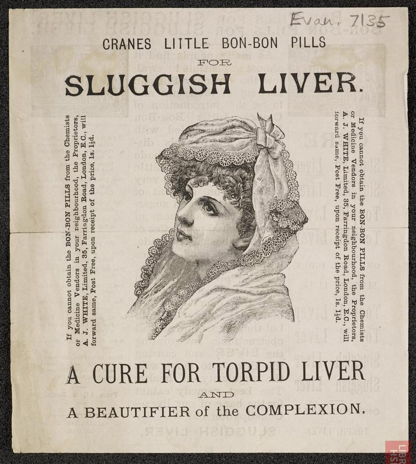 Advertisement for Crane's little bon-bon pills for sluggish liver