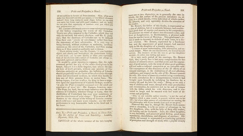 1813 review of Pride and Prejudice [page: vol. 3 pp. 318-19]
