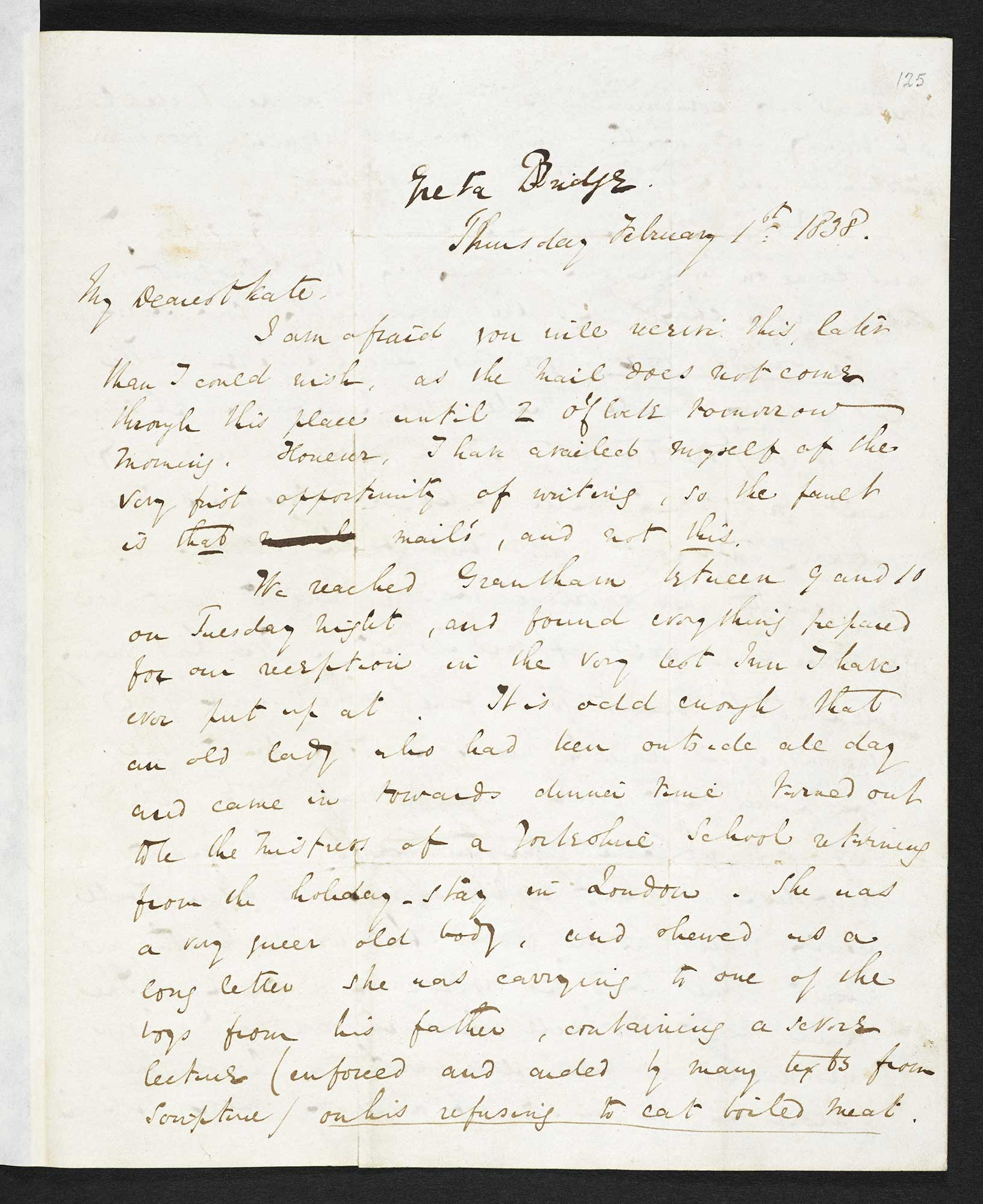 Letter about Yorkshire schools from Charles Dickens to his wife Catherine, 1 February 1838 [folio: 125r]