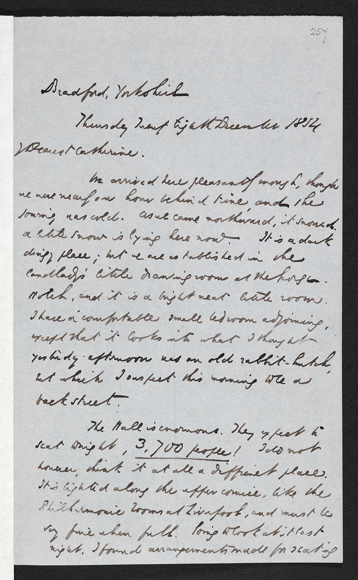 Letter about a performance of A Christmas Carol from Charles Dickens to his wife Catherine, 28 December 1854 [folio: 257r]