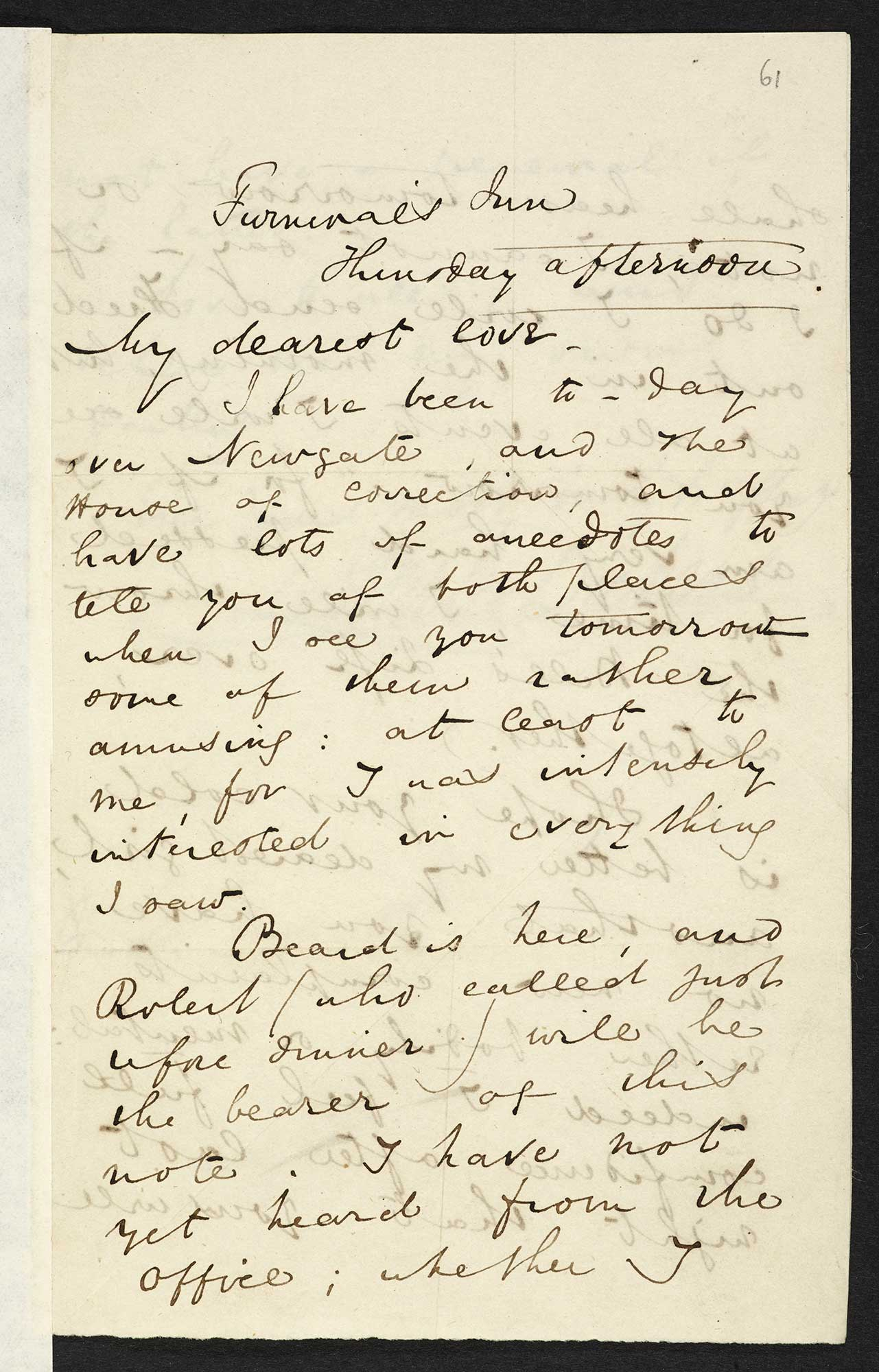 Letters about Newgate from Charles Dickens to his wife Catherine, [1835] [folio: 61r]